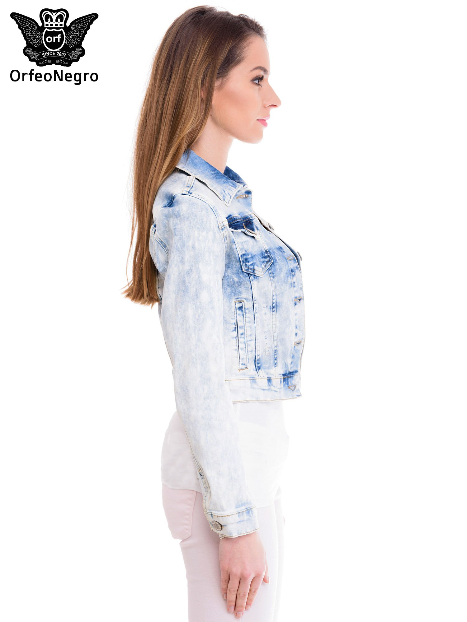 Niebieska marmurkowa kurtka jeansowa damska                                  zdj.                                  3