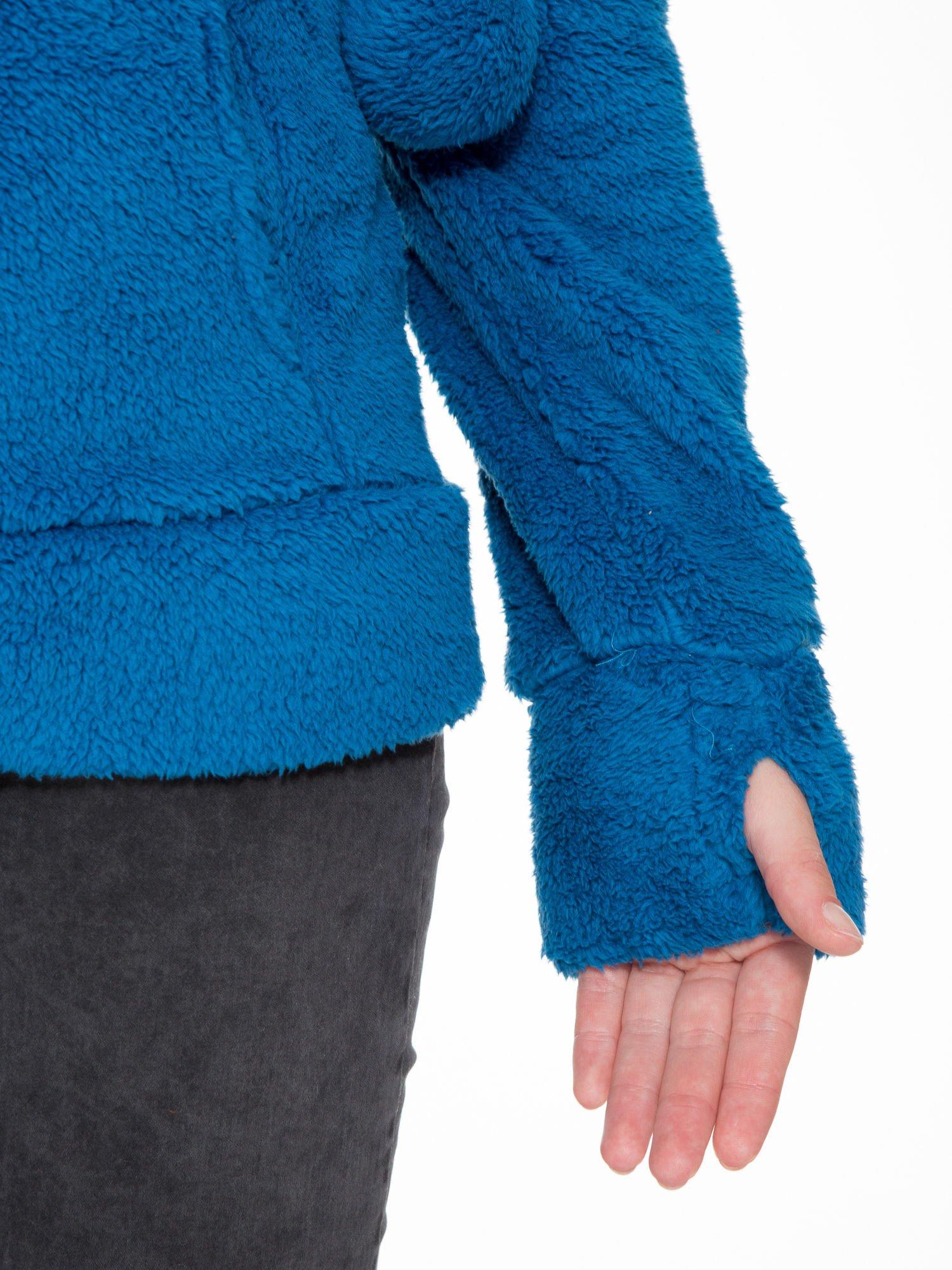 Niebieska polarowa bluza miś z kapturem z uszkami i pomponami                                  zdj.                                  9