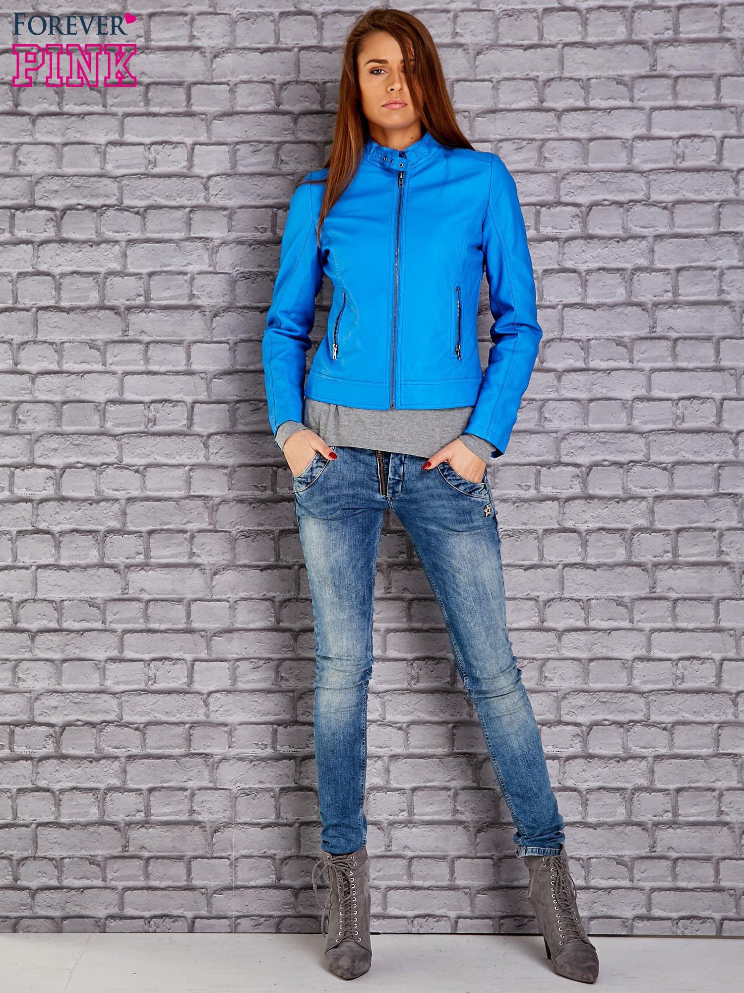 Niebieska skórzana kurtka o klasycznym kroju                                  zdj.                                  5