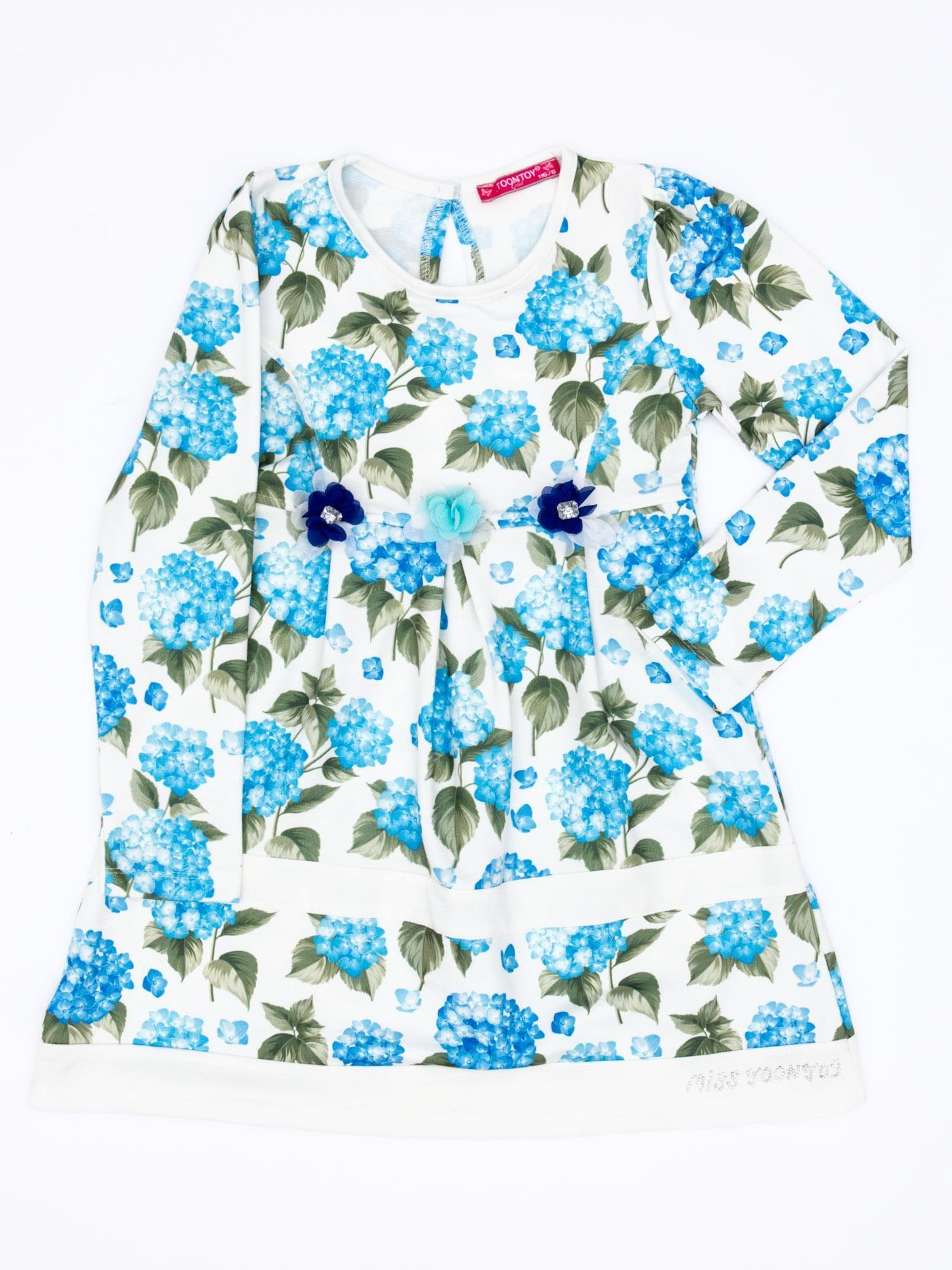 0e7de27beb Niebieska sukienka dla dziewczynki w kwiaty z tiulową aplikacją ...