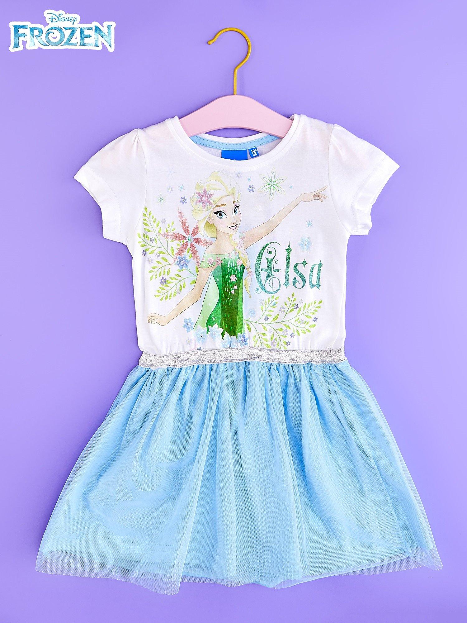 Niebieska sukienka dla dziewczynki z brokatowym paskiem FROZEN                                  zdj.                                  1