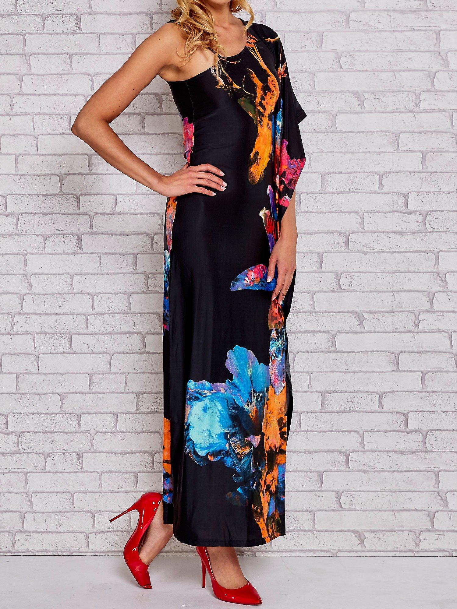 Niebieska sukienka maxi z asymetrycznym dekoltem                                  zdj.                                  1