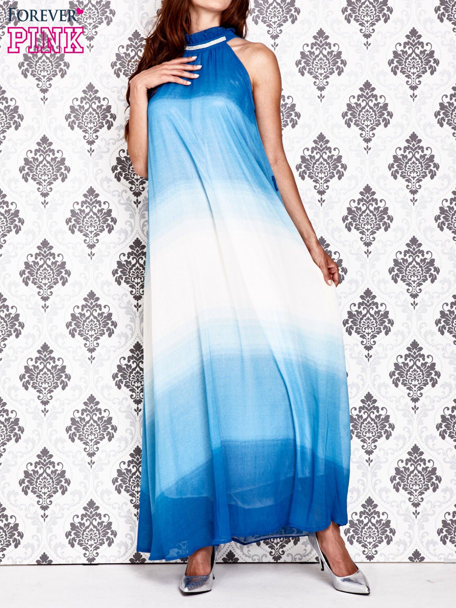 Niebieska sukienka maxi z wiązaniem na plecach                                  zdj.                                  1