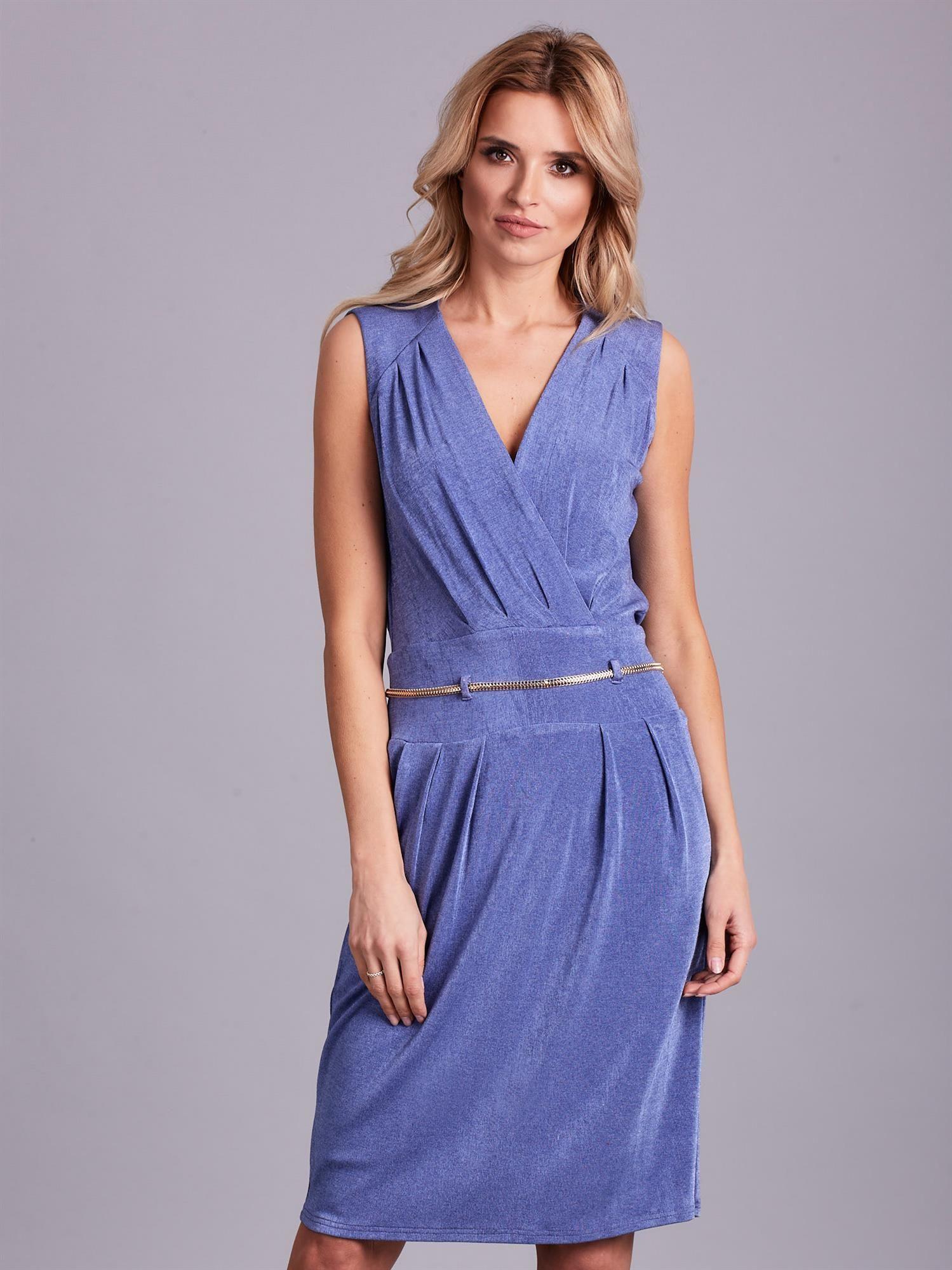 6bddee1cda Niebieska sukienka z dekoltem na plecach - Sukienka koktajlowa ...