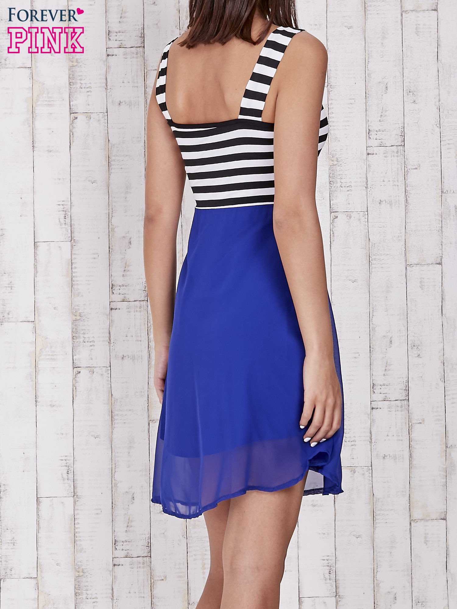 Niebieska sukienka z górą w paski                                  zdj.                                  4