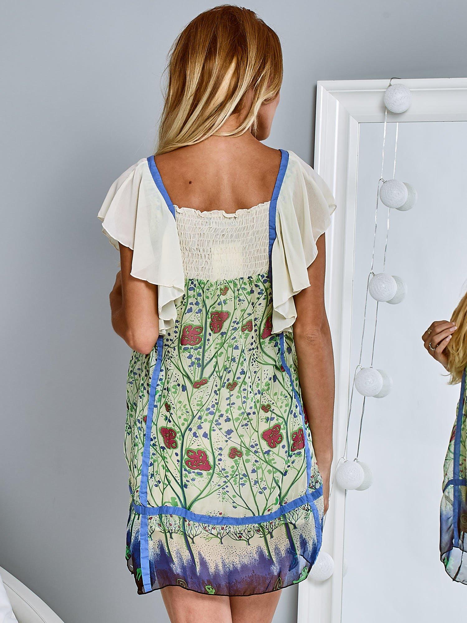 Niebieska sukienka z rękawkami typu motylek                                  zdj.                                  2