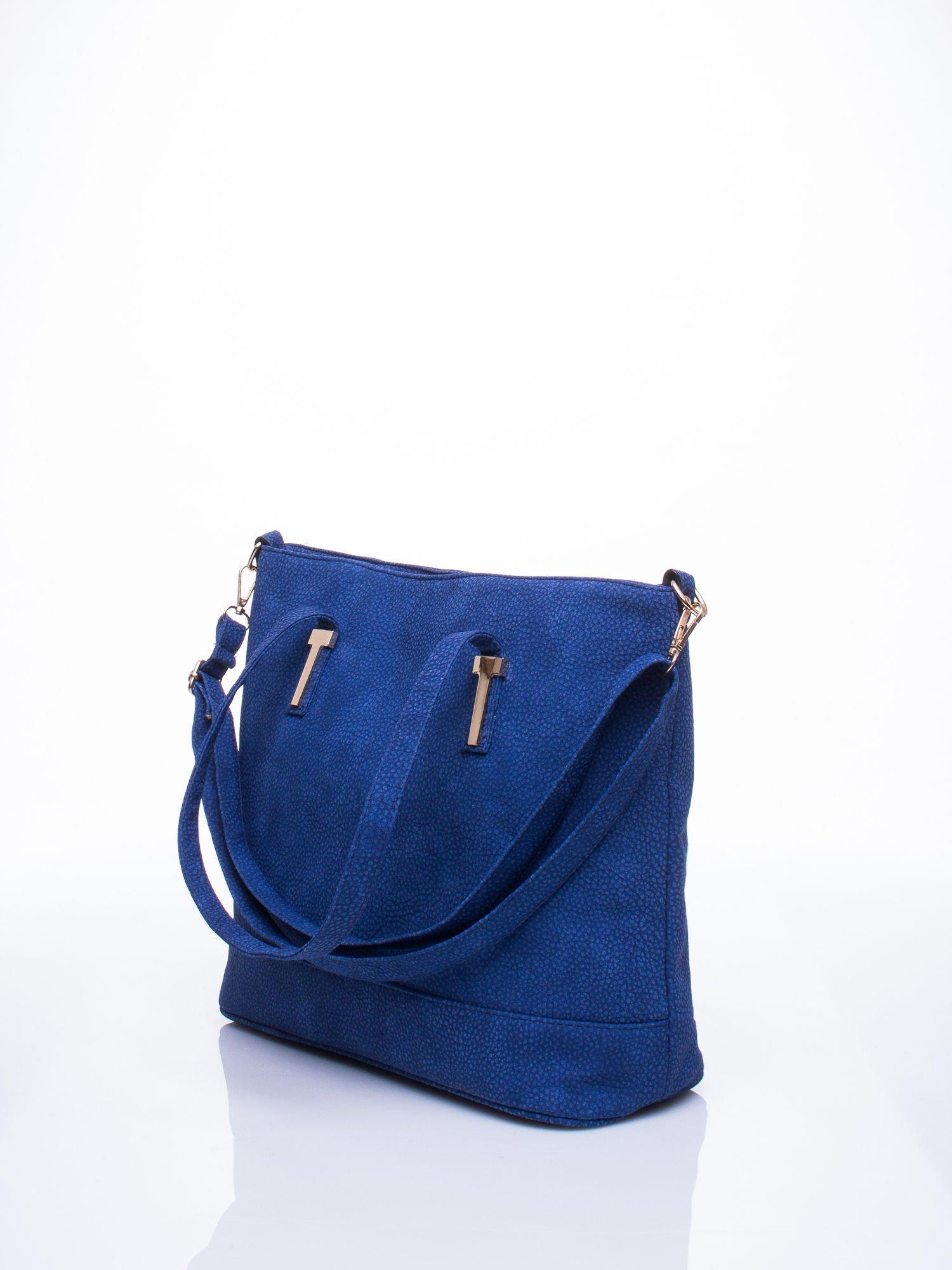 Niebieska torba shopperka z odczepianym paskiem                                   zdj.                                  2