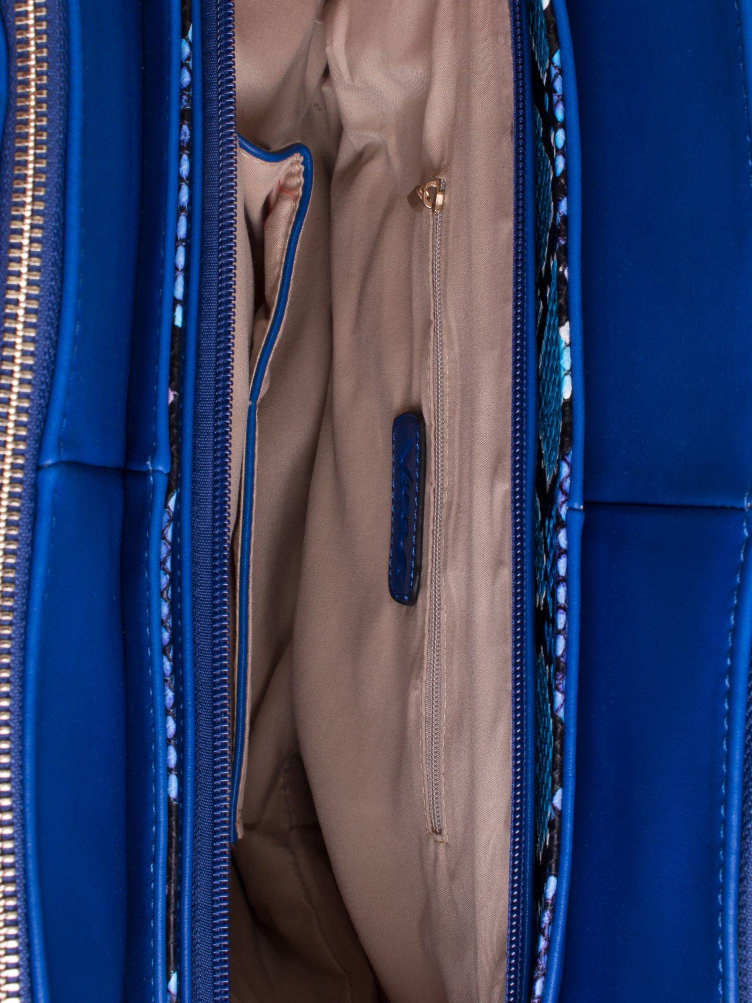 Niebieska torba z wstawkami animal print                                  zdj.                                  4
