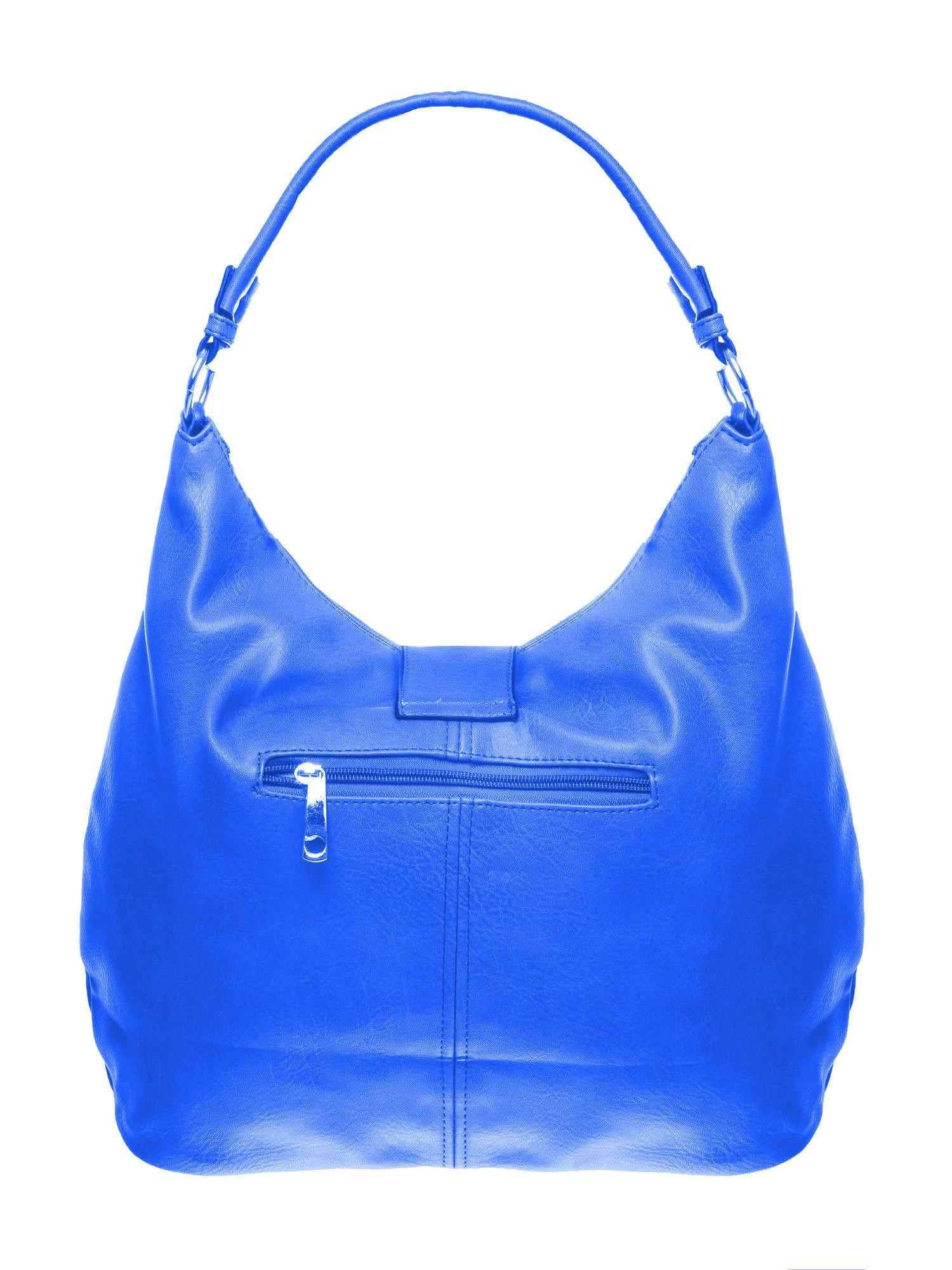 Niebieska torebka hobo z zapięciem                                  zdj.                                  2