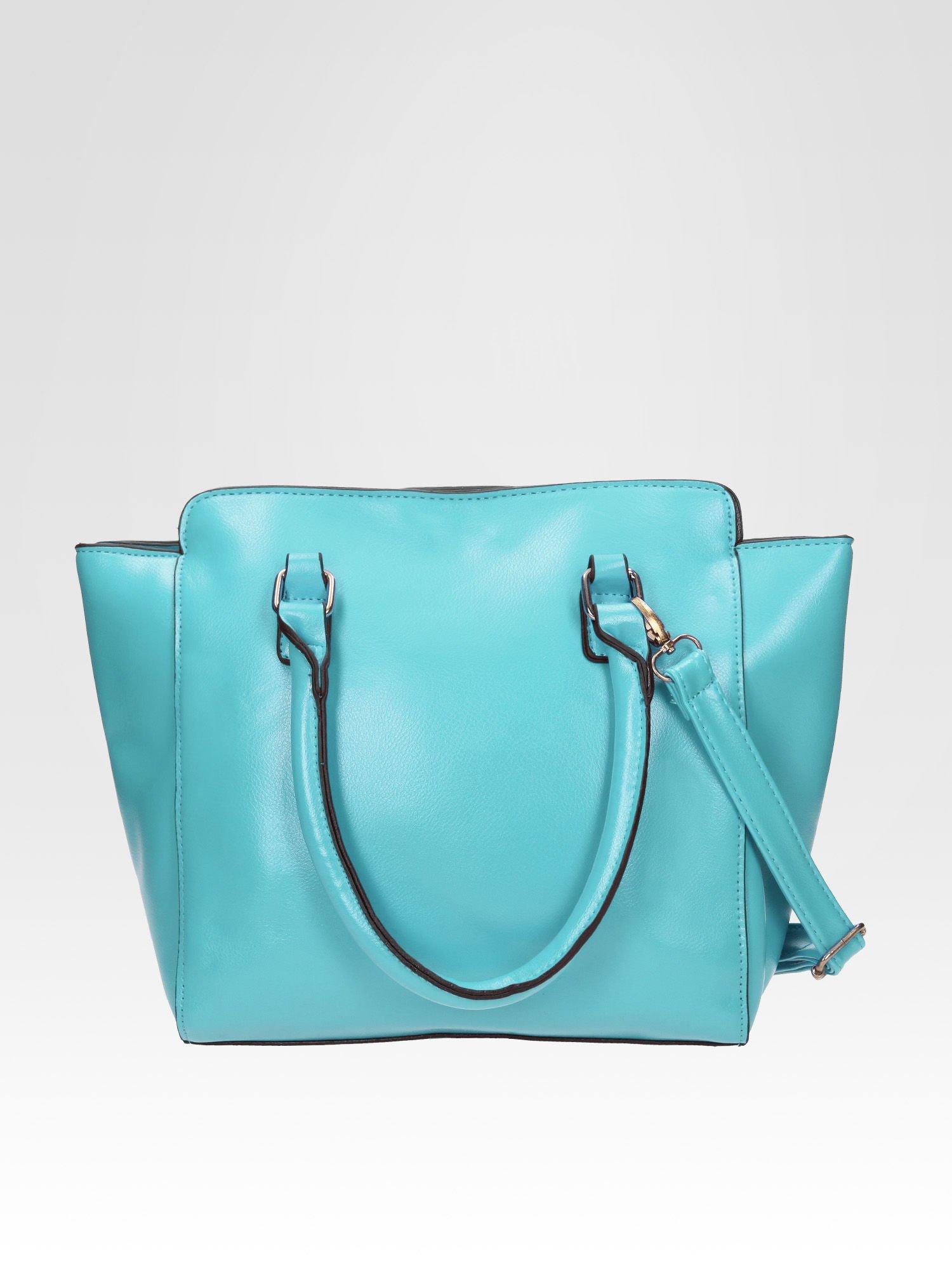 Niebieska torebka na ramię z dżetami                                  zdj.                                  3
