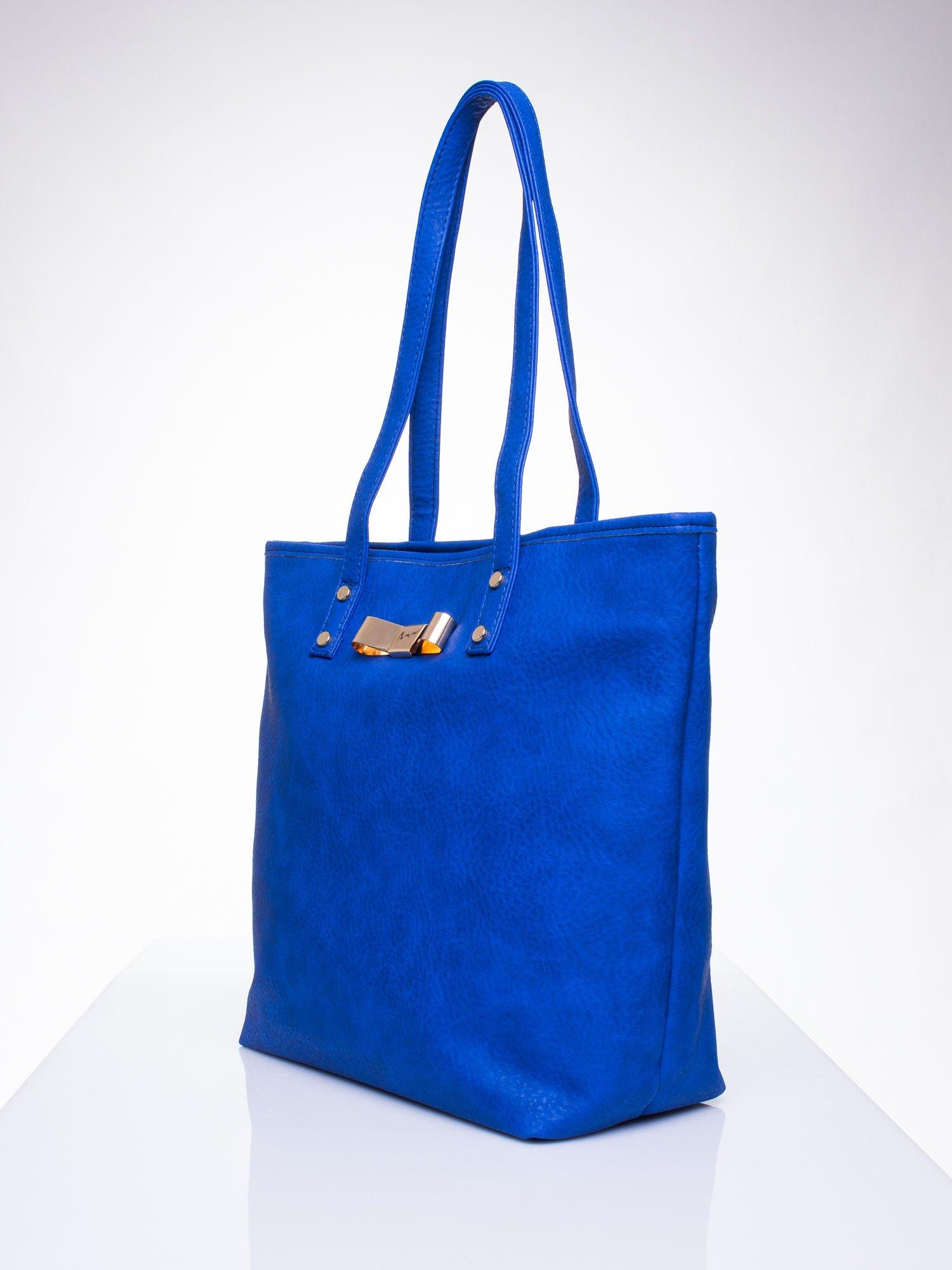 Niebieska torebka shopper bag z kokardką                                  zdj.                                  3