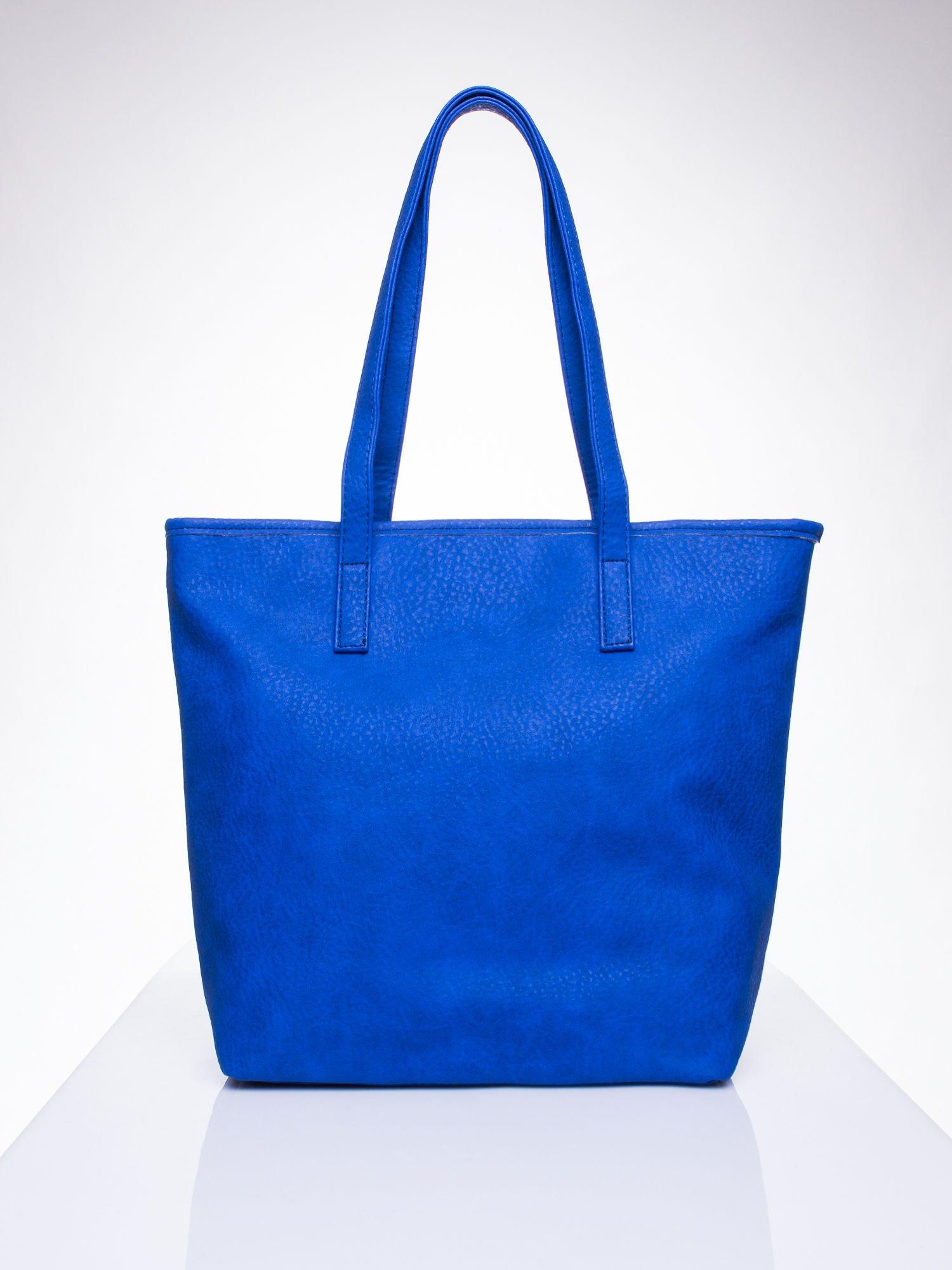 Niebieska torebka shopper bag z kokardką                                  zdj.                                  4