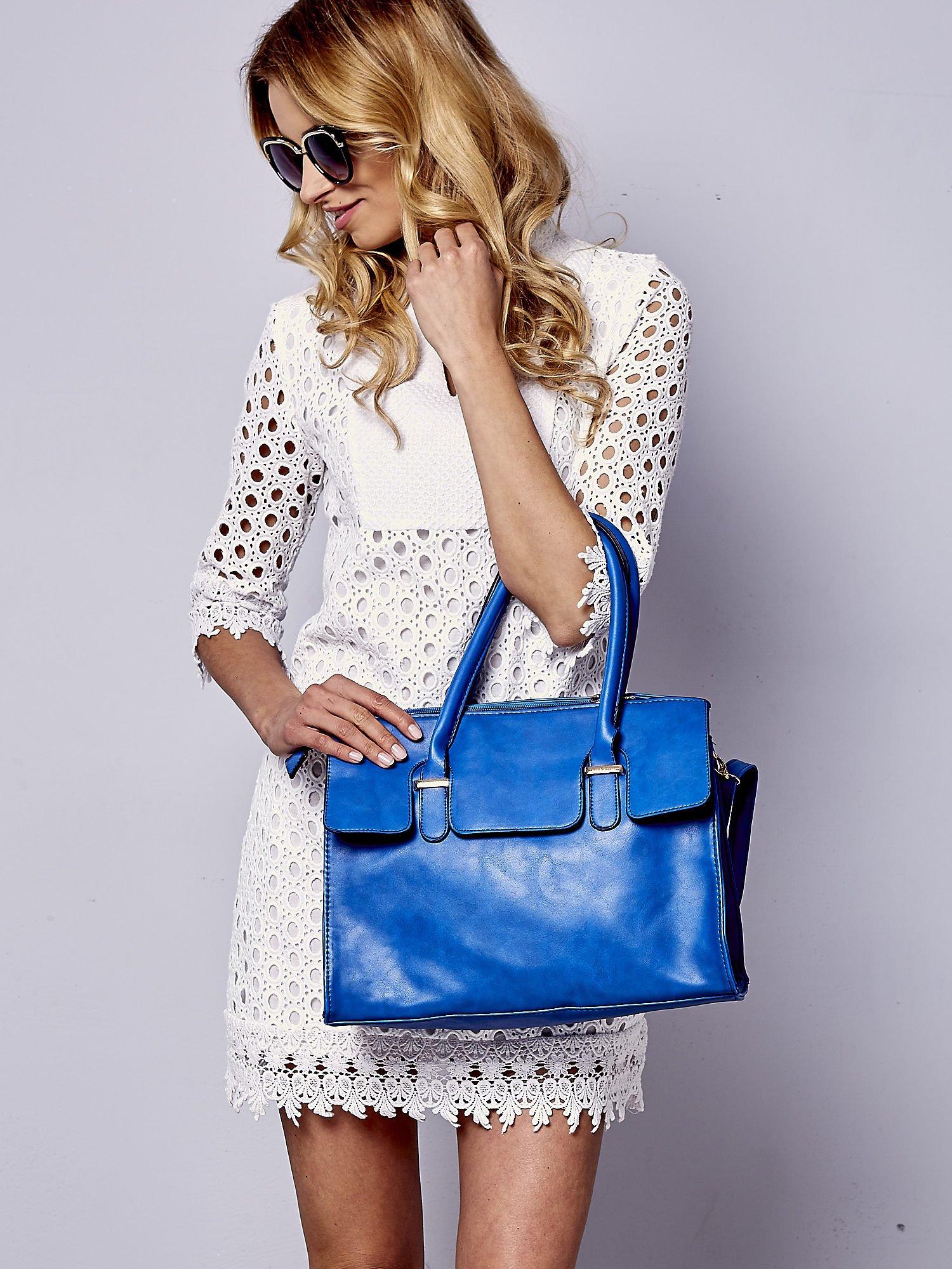 Niebieska torebka teczka z klapką                                  zdj.                                  1