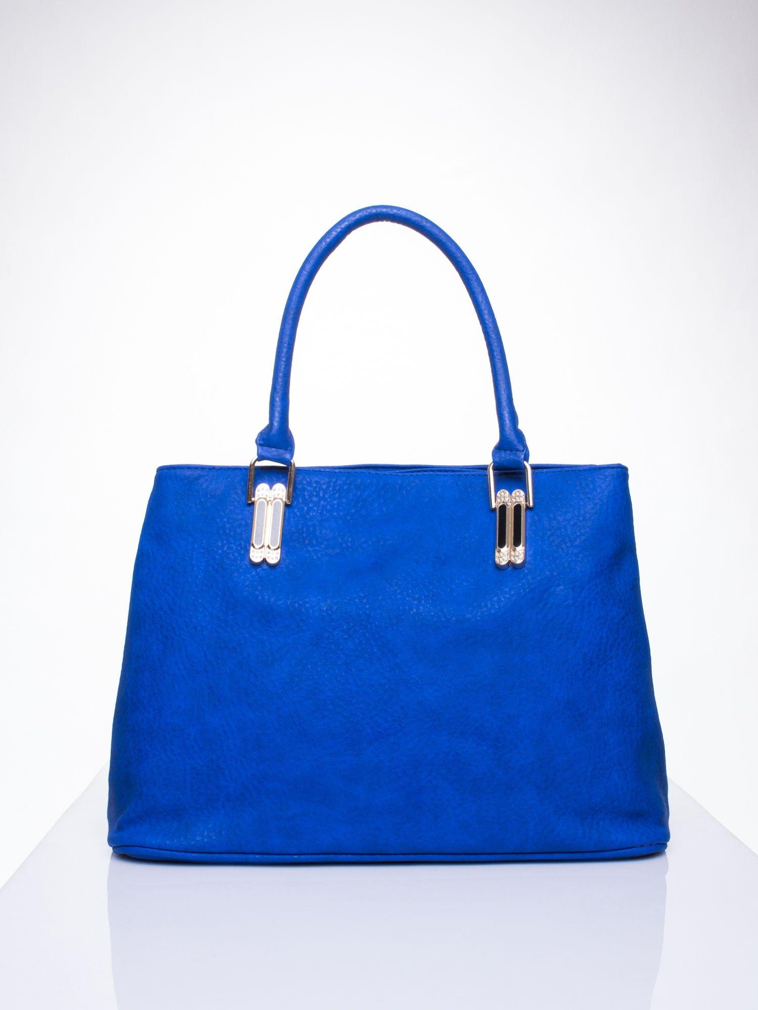 Niebieska torebka ze złotymi okuciami z kryształkami                                  zdj.                                  2