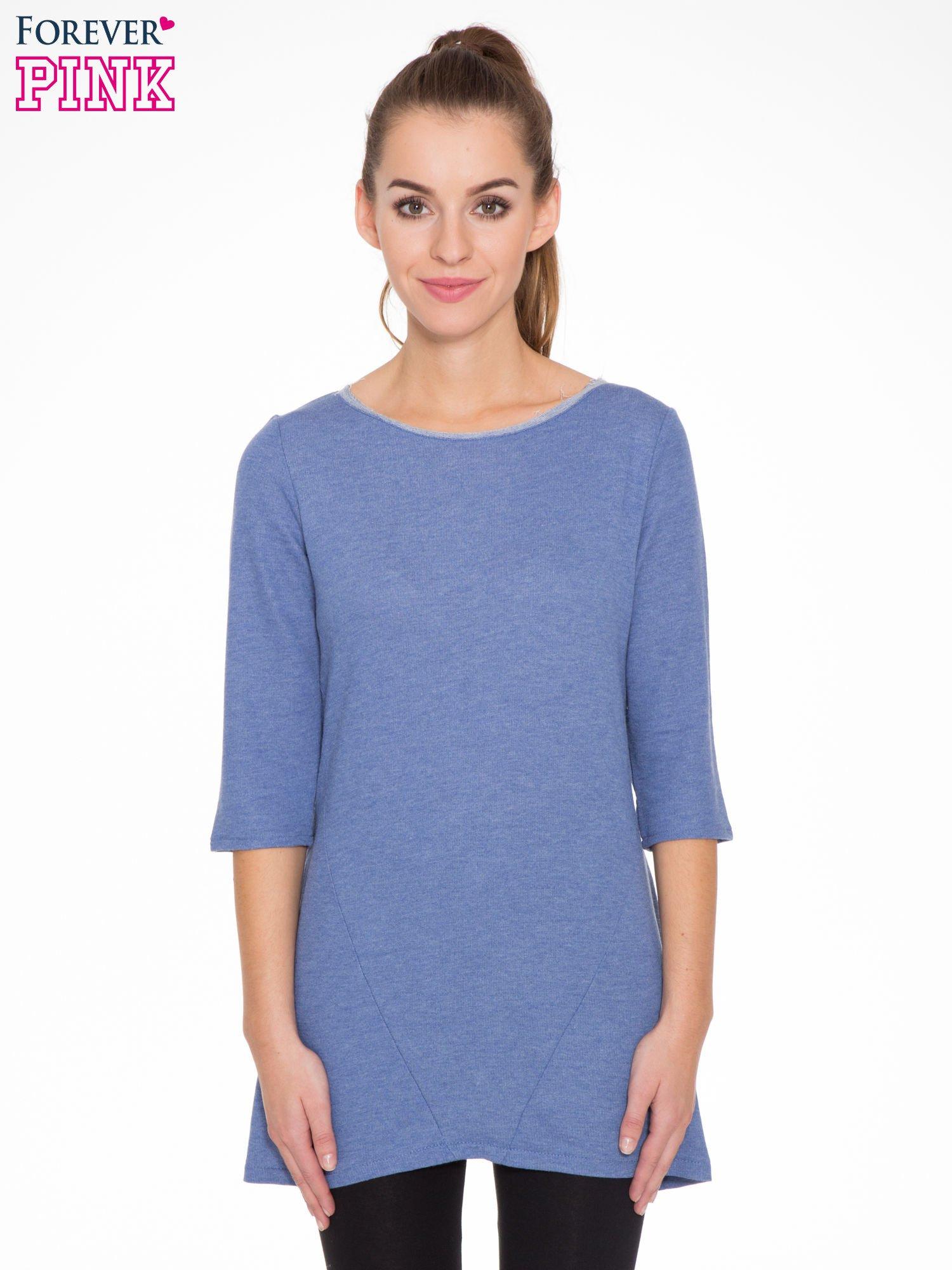 Niebieska tunika o kroju dzwonka wiązana z tyłu                                  zdj.                                  1