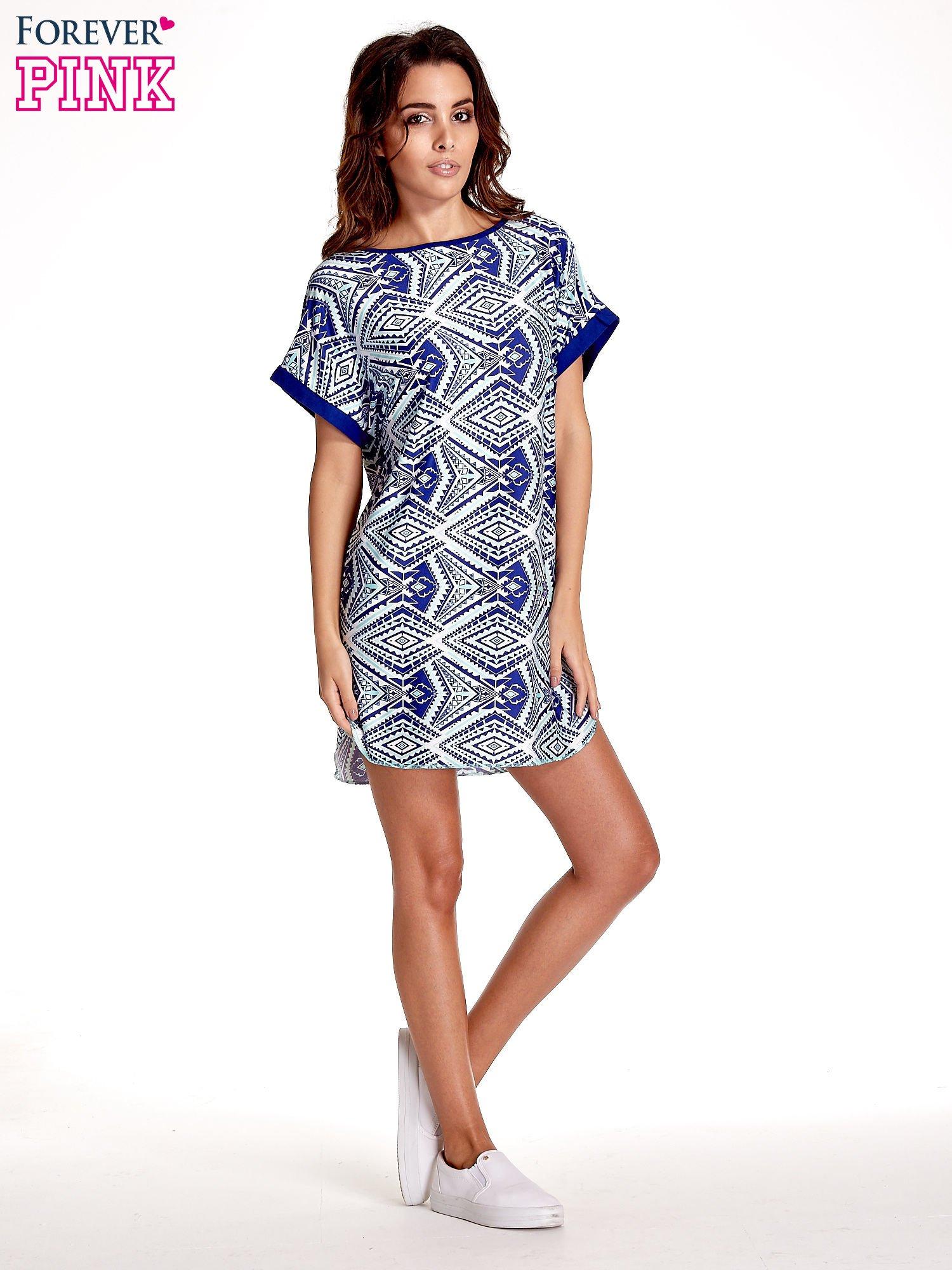 Niebieska tunika w azteckie wzory                                  zdj.                                  7