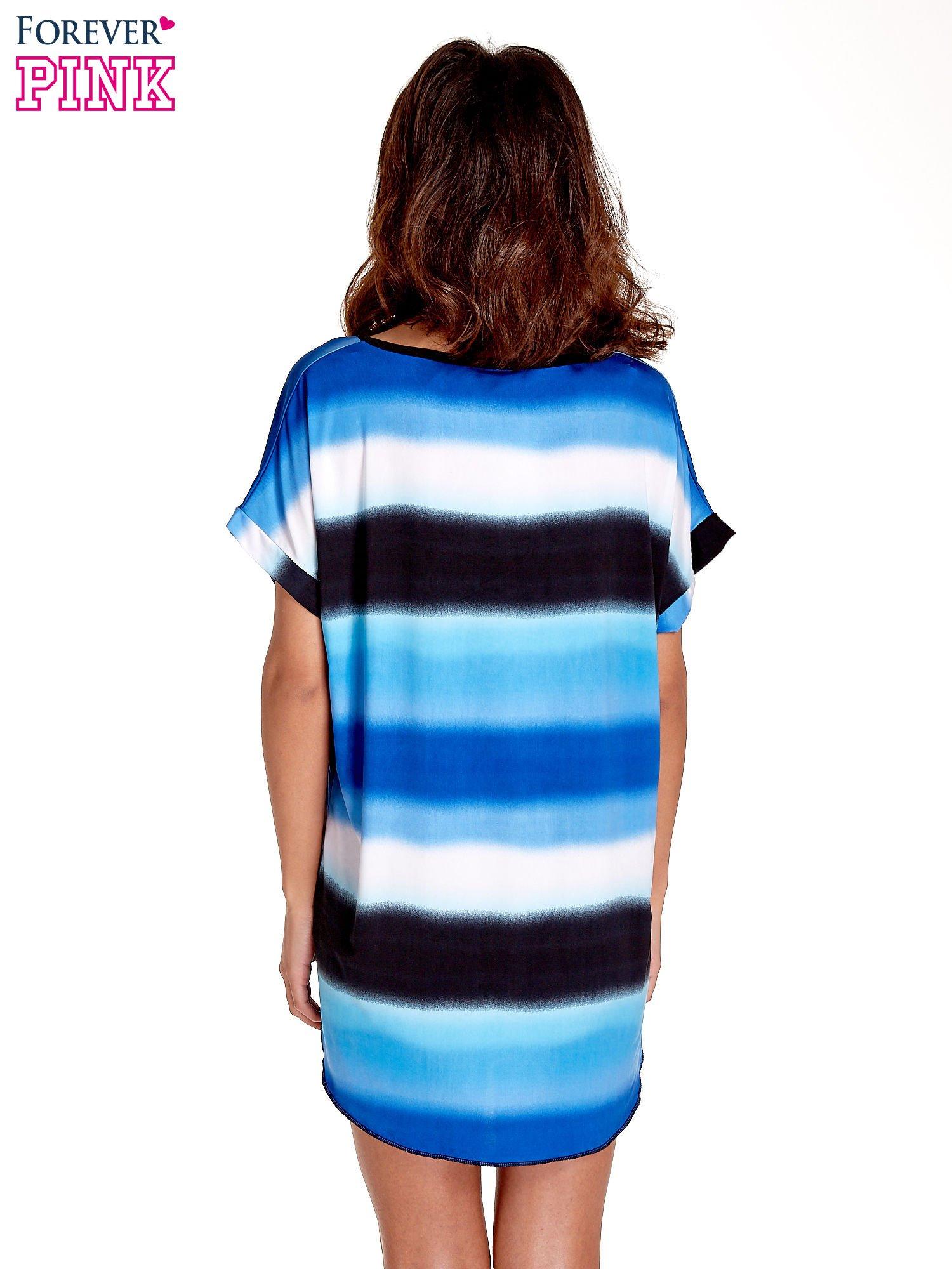 Niebieska tunika w szerokie poziome pasy                                  zdj.                                  4