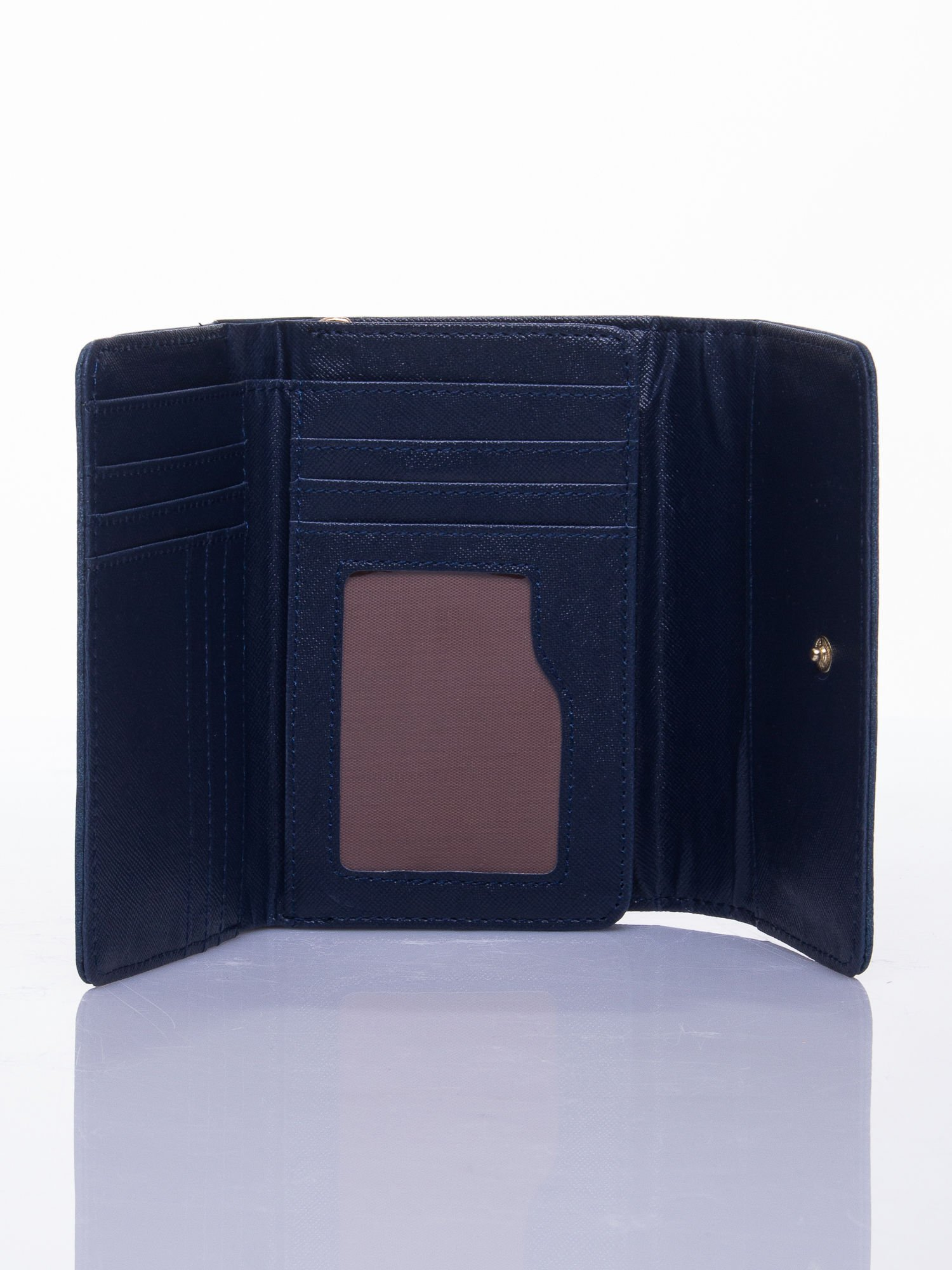 Niebieski ażurowany portfel ze złotym zapięciem                                  zdj.                                  3