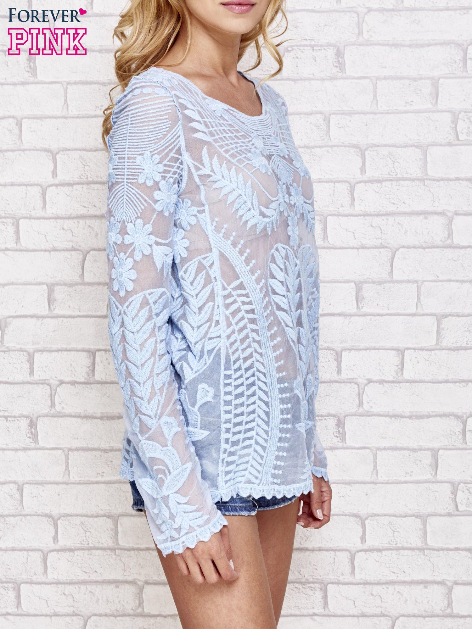 Niebieski ażurowy sweterek mgiełka                                  zdj.                                  3