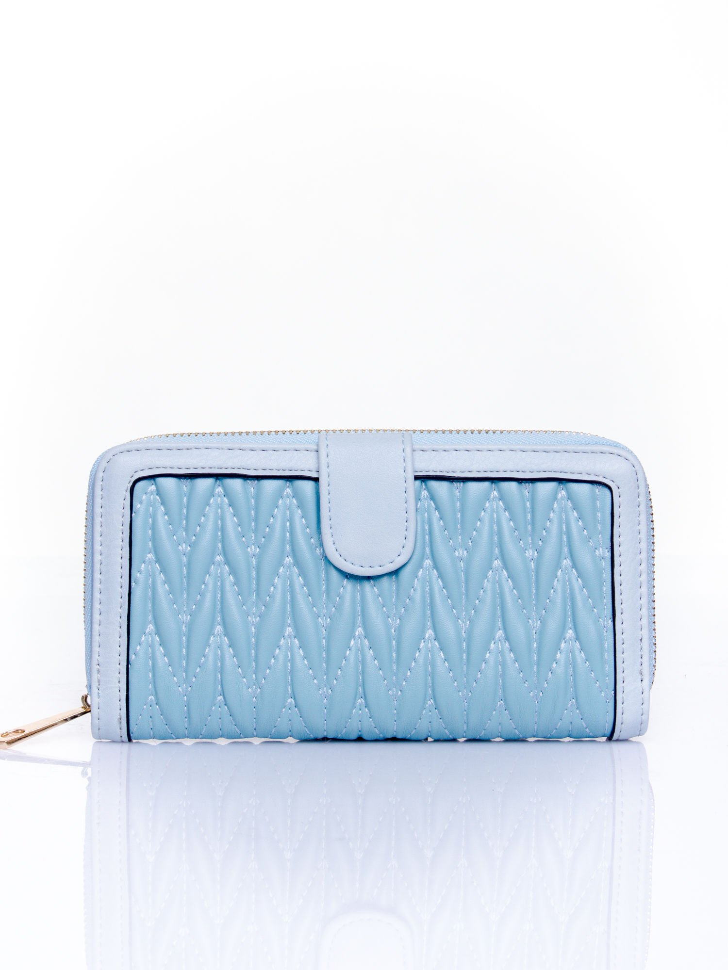 Niebieski pikowany portfel ze złotym suwakiem                                  zdj.                                  1