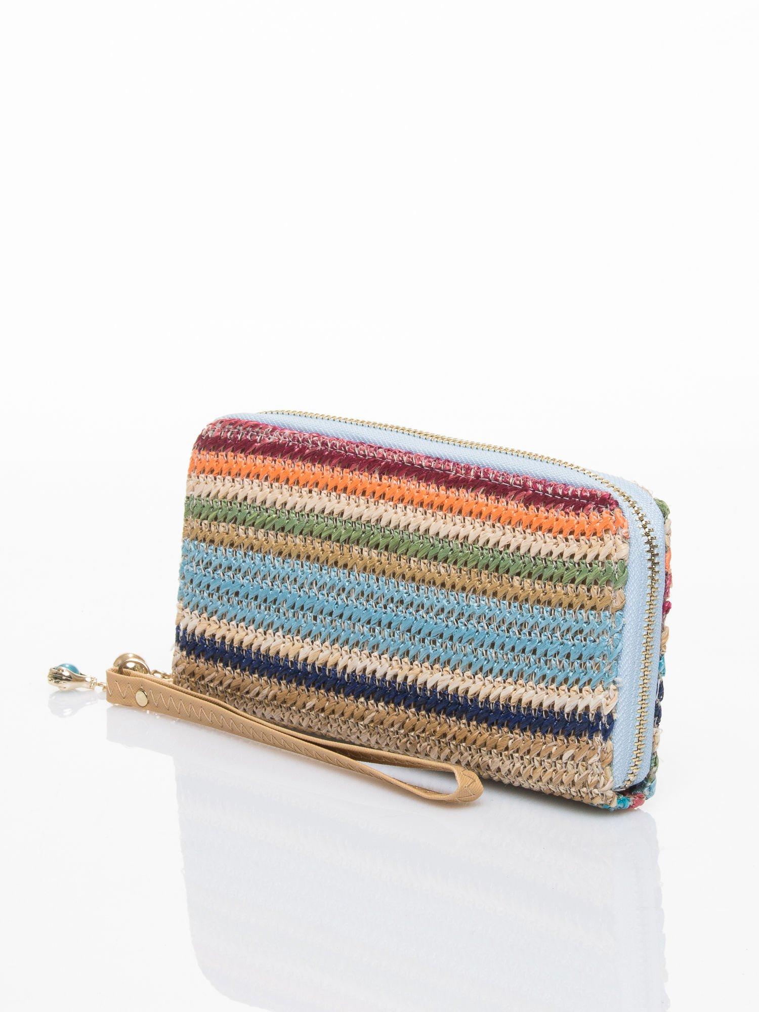 Niebieski pleciony portfel w paski                                  zdj.                                  2
