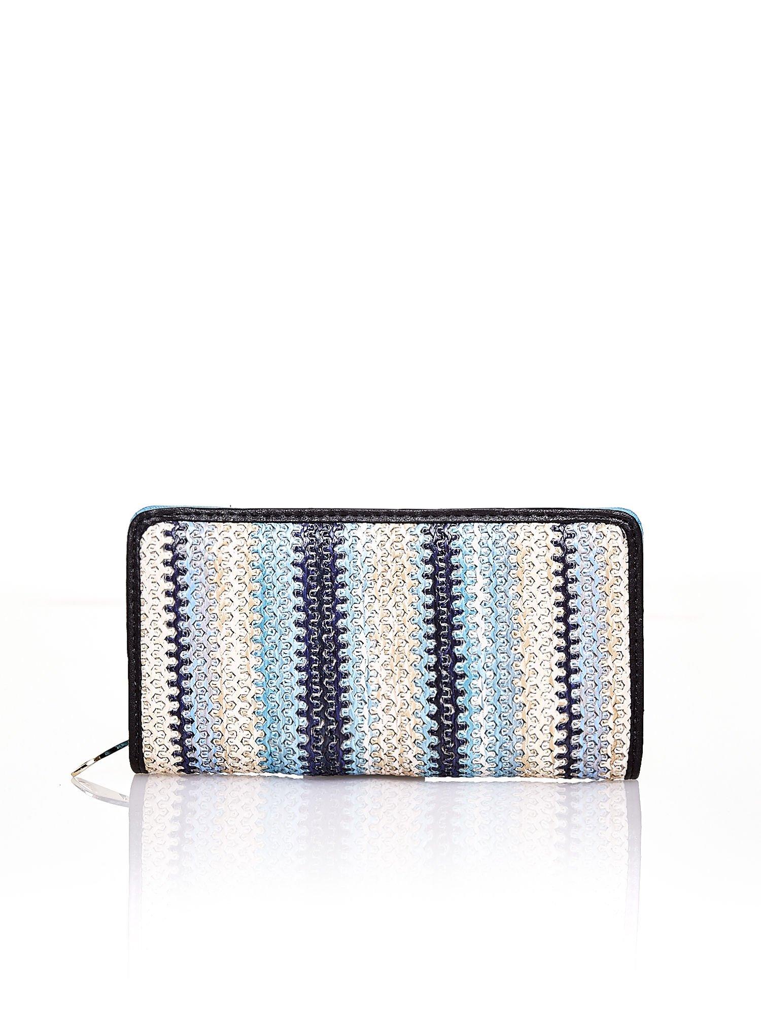 Niebieski pleciony portfel w pionowe granatowe paski                                  zdj.                                  1