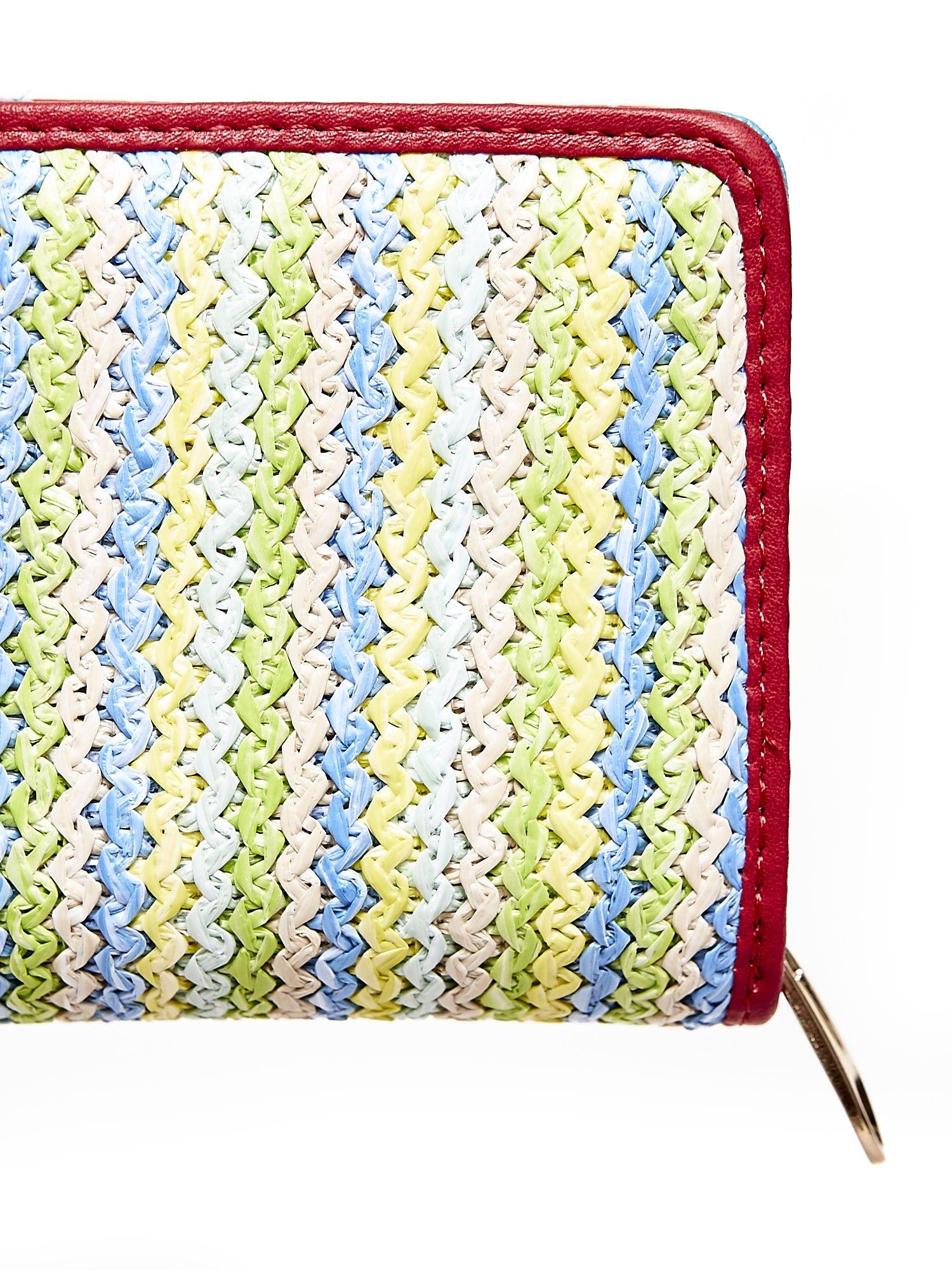Niebieski pleciony portfel w pionowe pastelowe paski                                  zdj.                                  5
