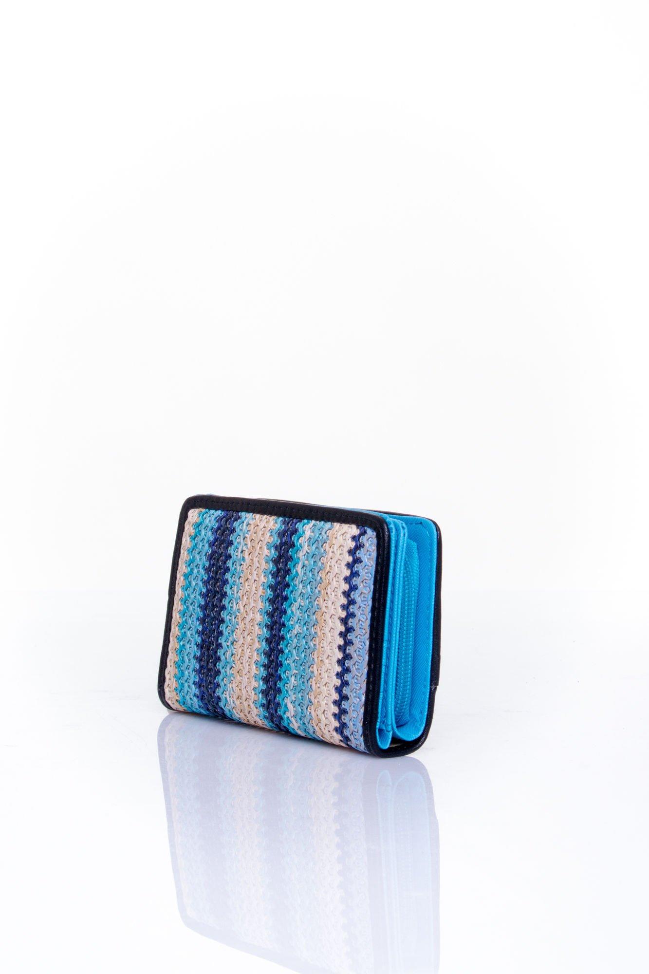 Niebieski portfel z granatowym plecionkowym wykończeniem                                  zdj.                                  2