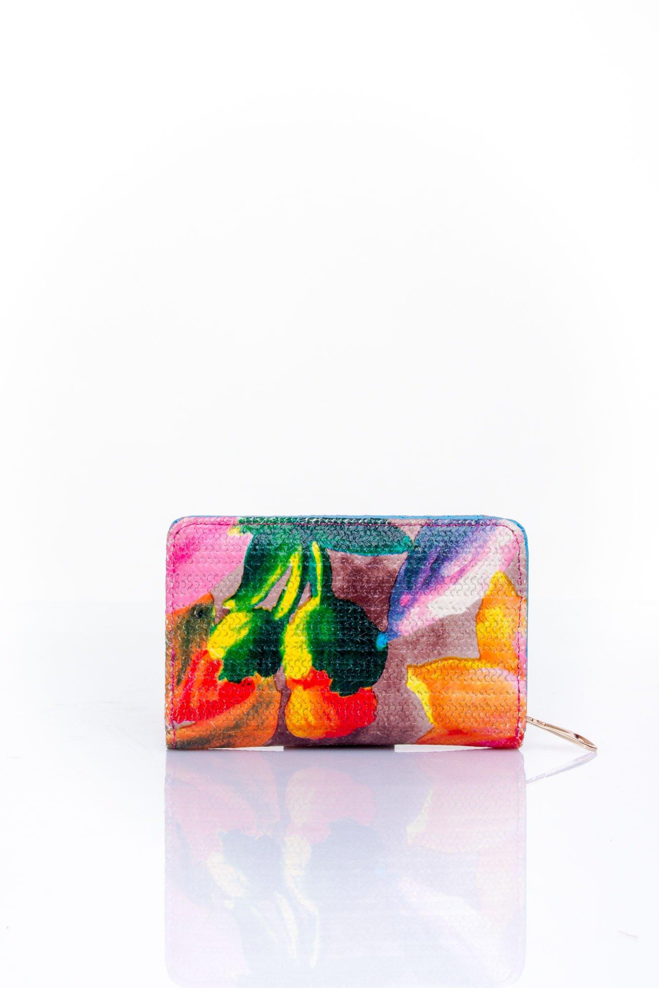 Niebieski portfel z kwiatowym nadrukiem                                  zdj.                                  2