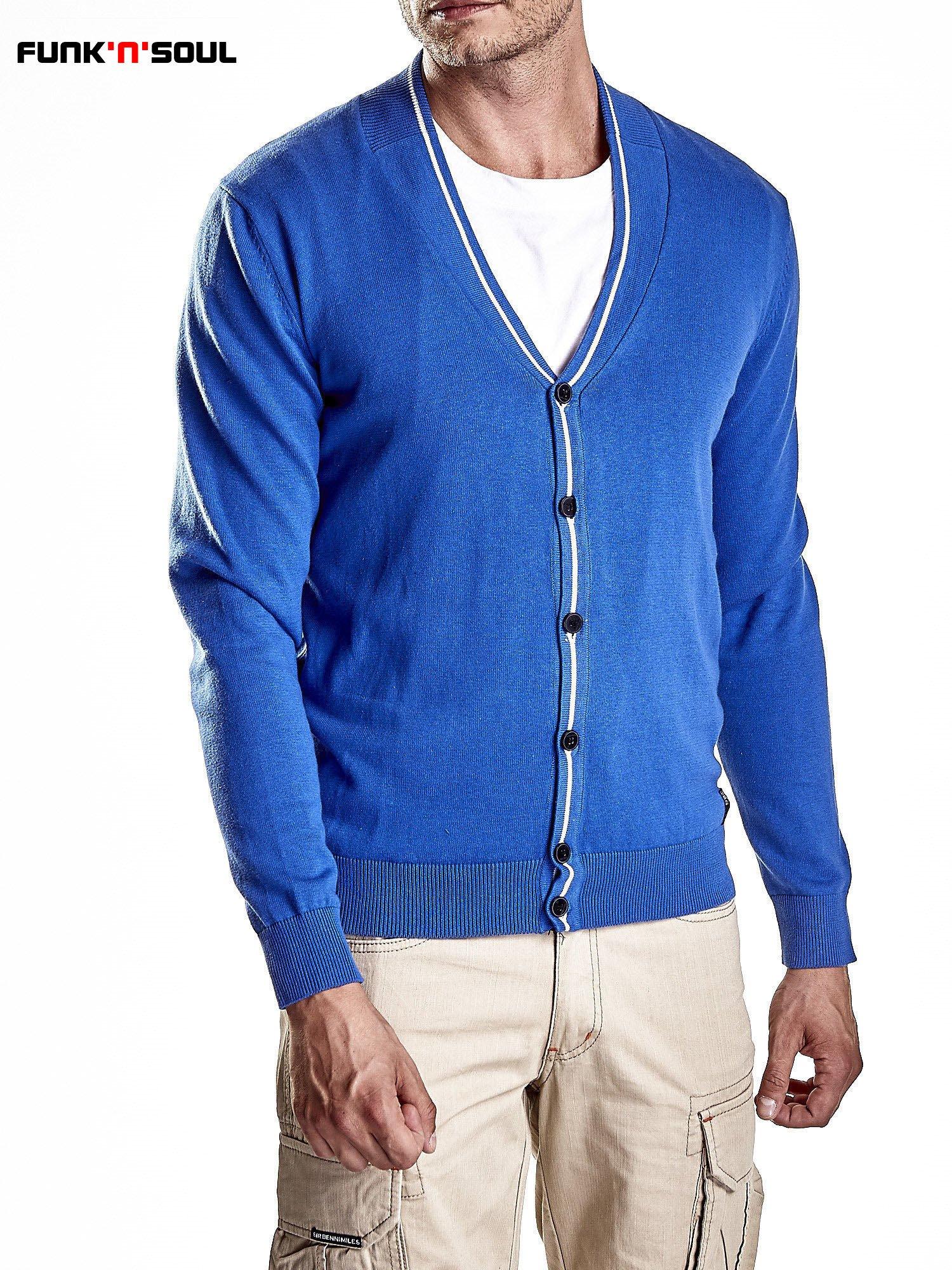 Niebieski sweter męski na guziki Funk n Soul                                   zdj.                                  4