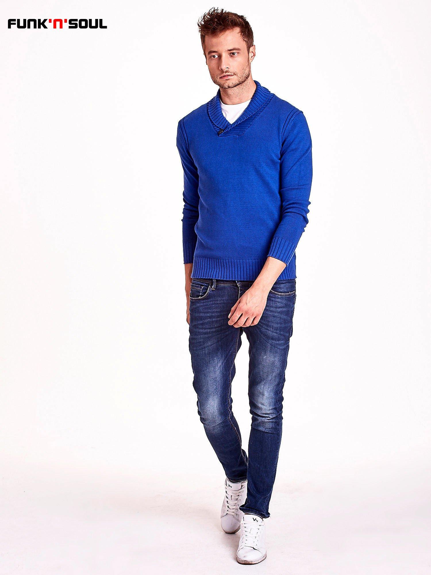 Niebieski sweter męski z kołnierzykiem FUNK N SOUL                                  zdj.                                  3