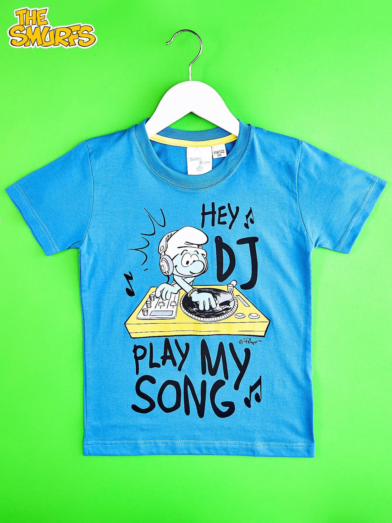 Niebieski t-shirt chłopięcy SMERFY                                  zdj.                                  1