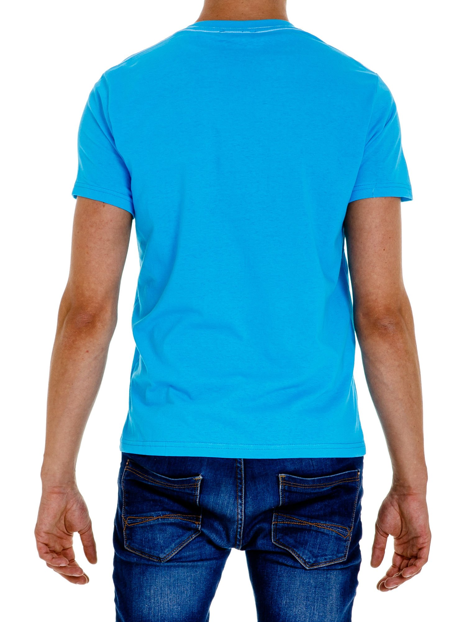 Niebieski t-shirt męski ze sportowym nadrukiem i napisem SUPERIOR                                  zdj.                                  5