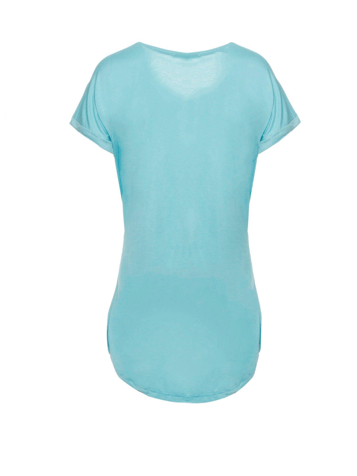 Niebieski t-shirt z nadrukiem ptaszka w klatce                                  zdj.                                  2