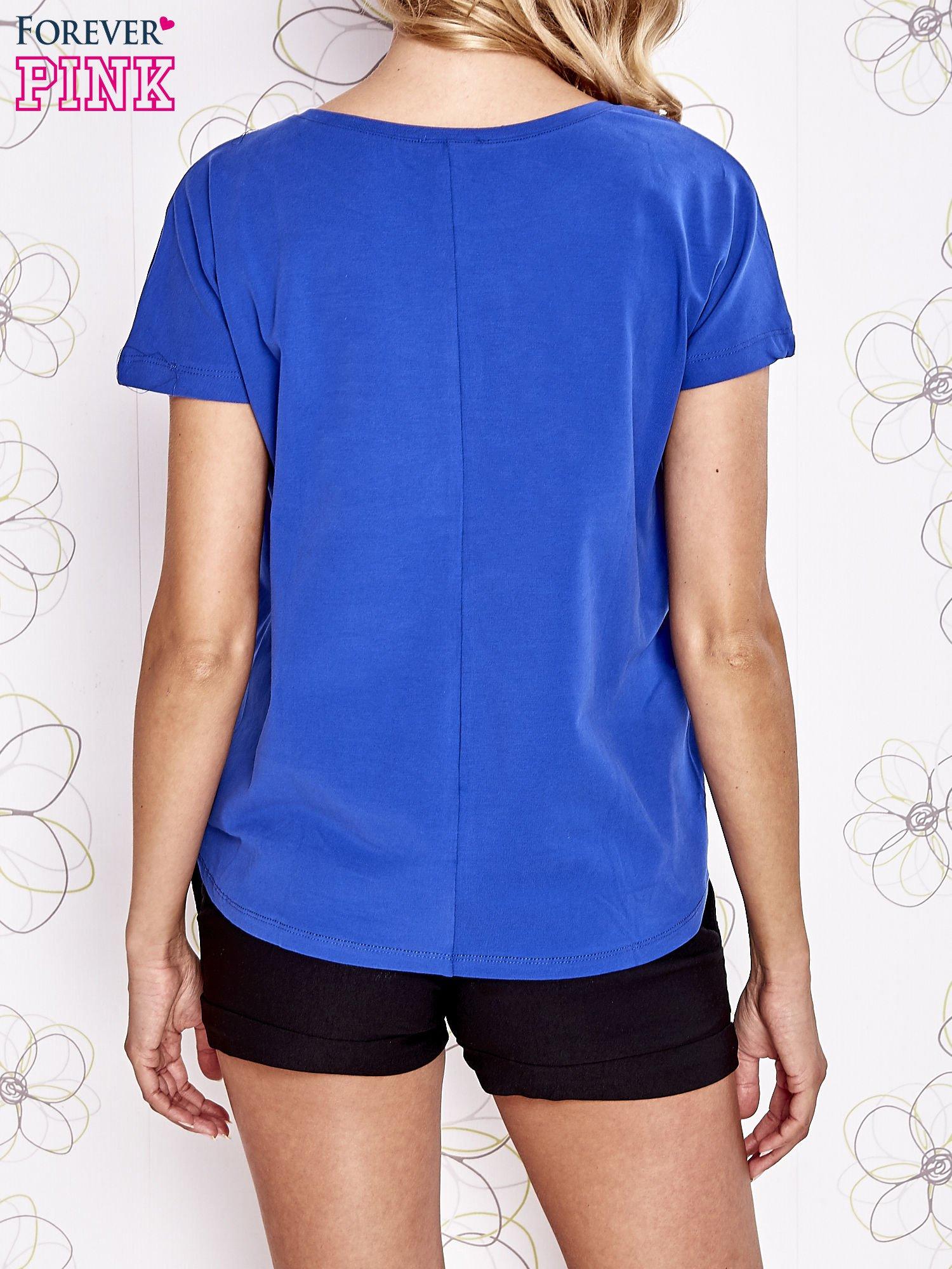 Niebieski t-shirt z napisem LIU J❤                                  zdj.                                  2