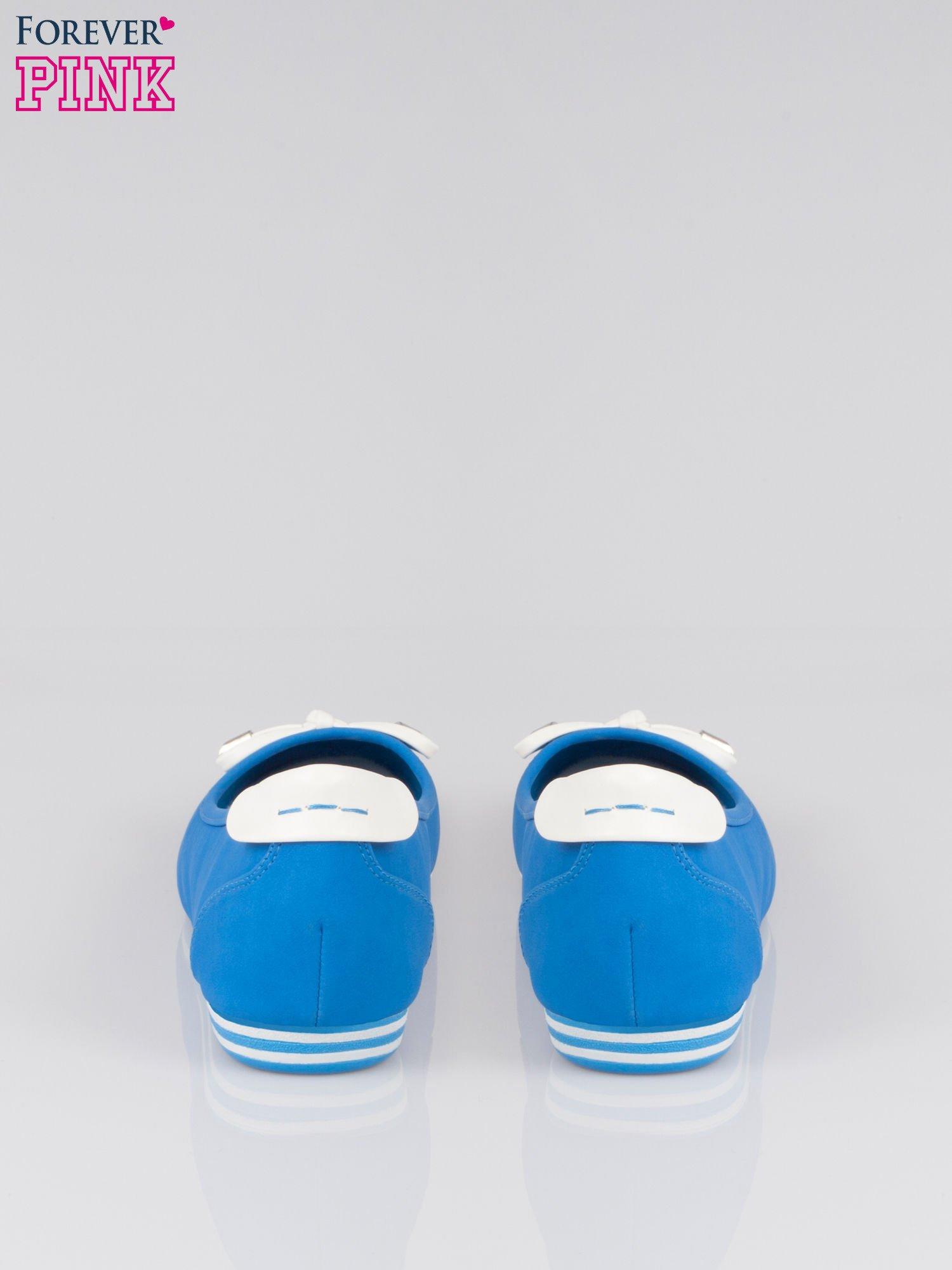 Niebieskie baleriny Blue Sky z białą kokardką                                  zdj.                                  3