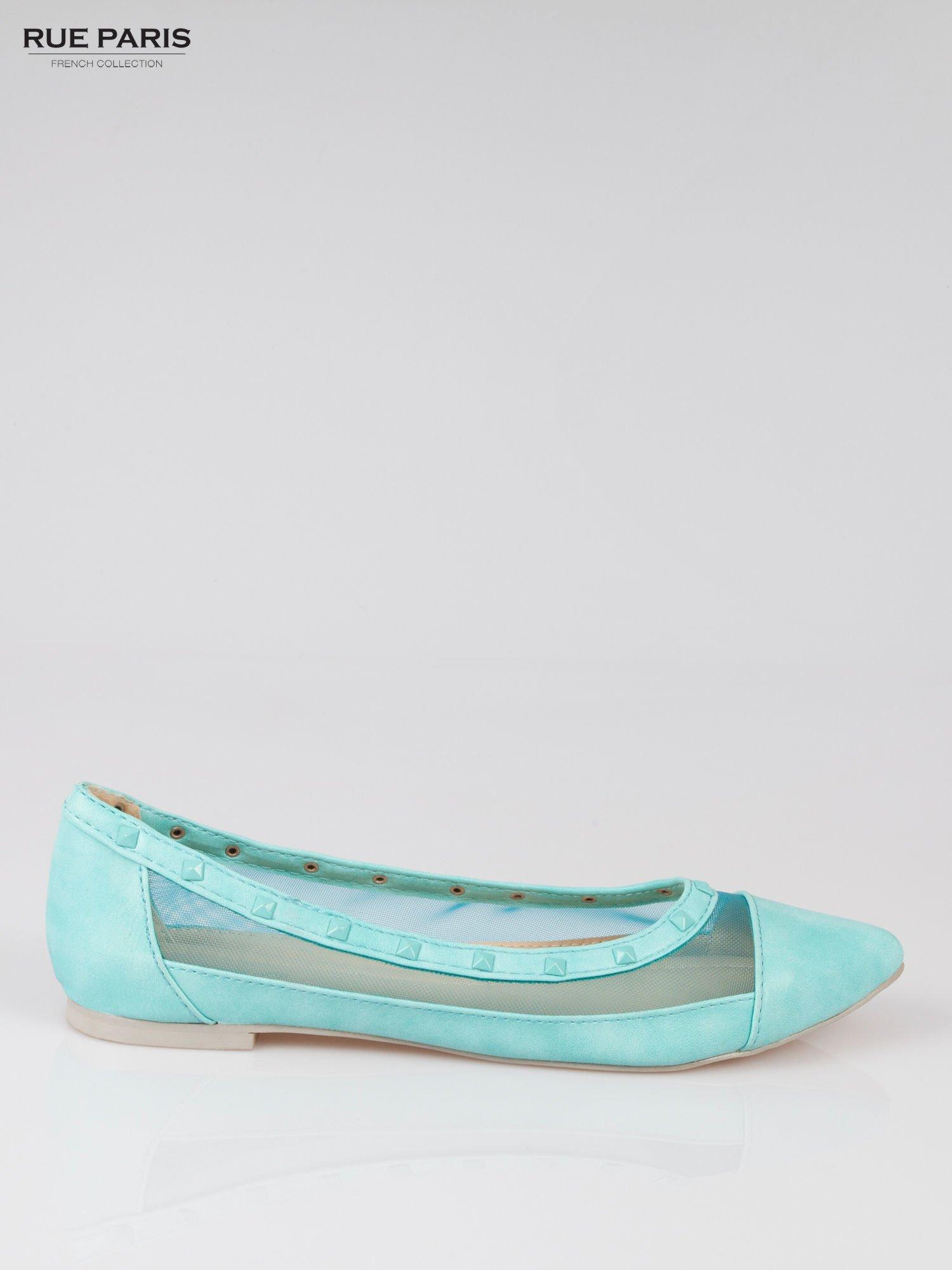 Niebieskie baleriny Crystal leather z siateczką i ćwiekami                                  zdj.                                  1