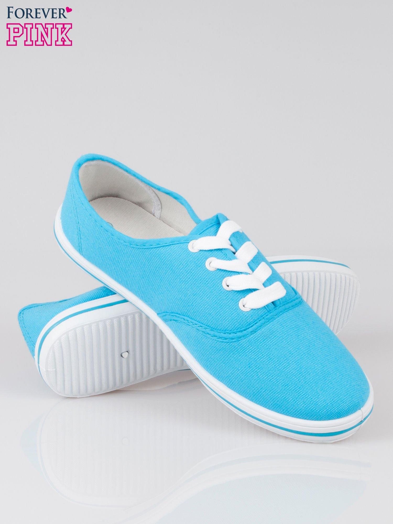 Niebieskie damskie tenisówki przed kostkę                                  zdj.                                  4