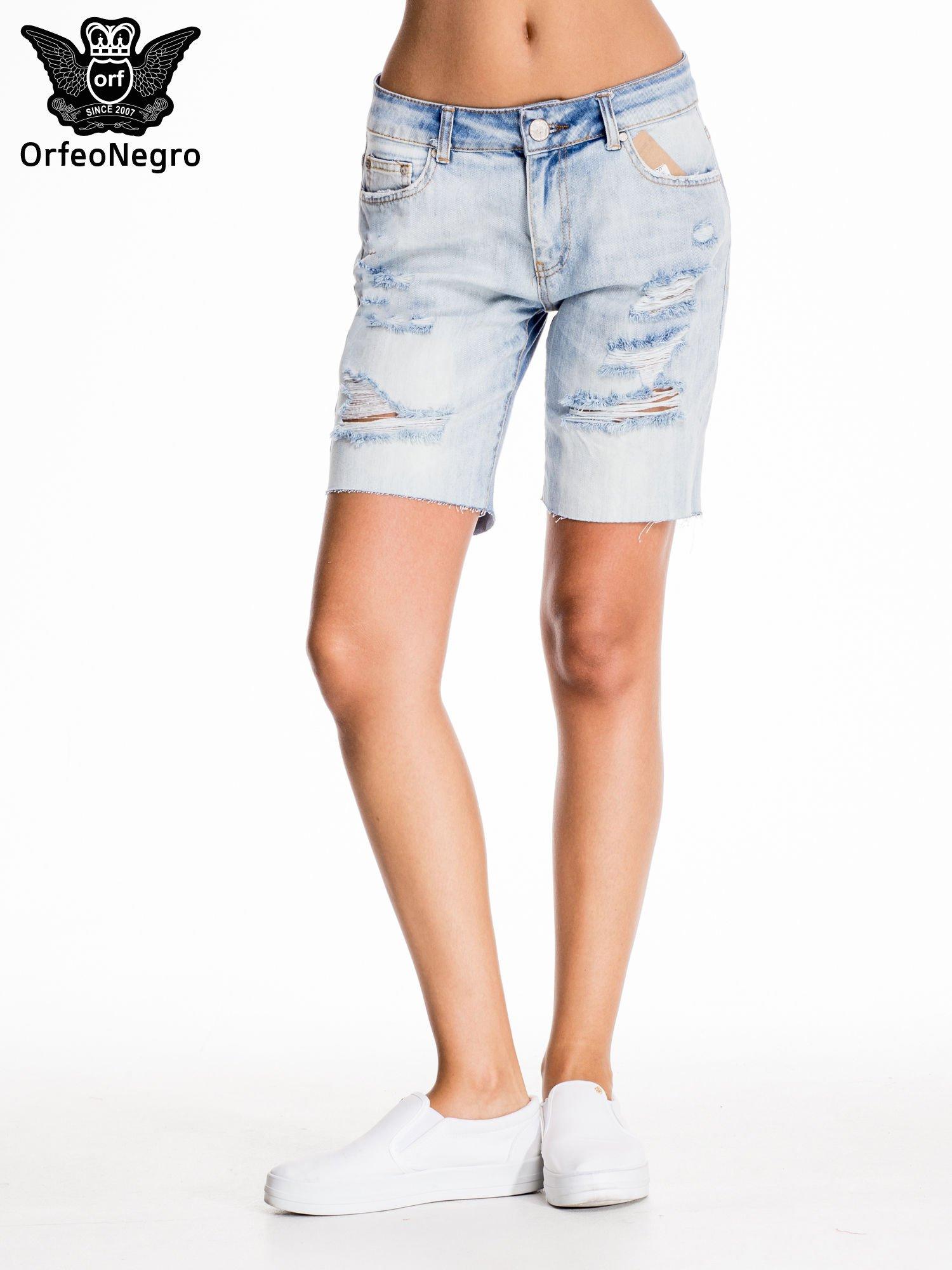 Niebieskie jeansowe szorty a'la bermudy                                  zdj.                                  3