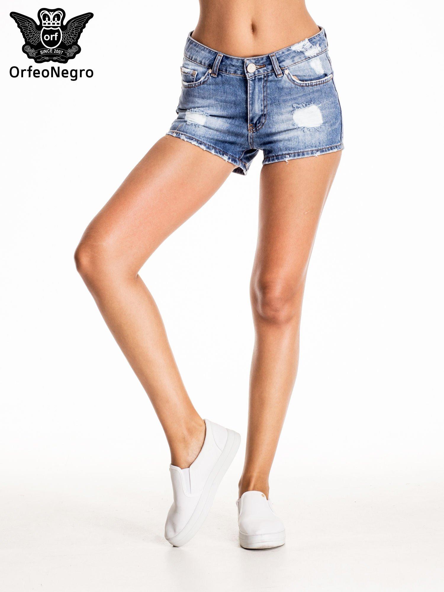 Niebieskie jeansowe szorty z wytarciami                                  zdj.                                  3