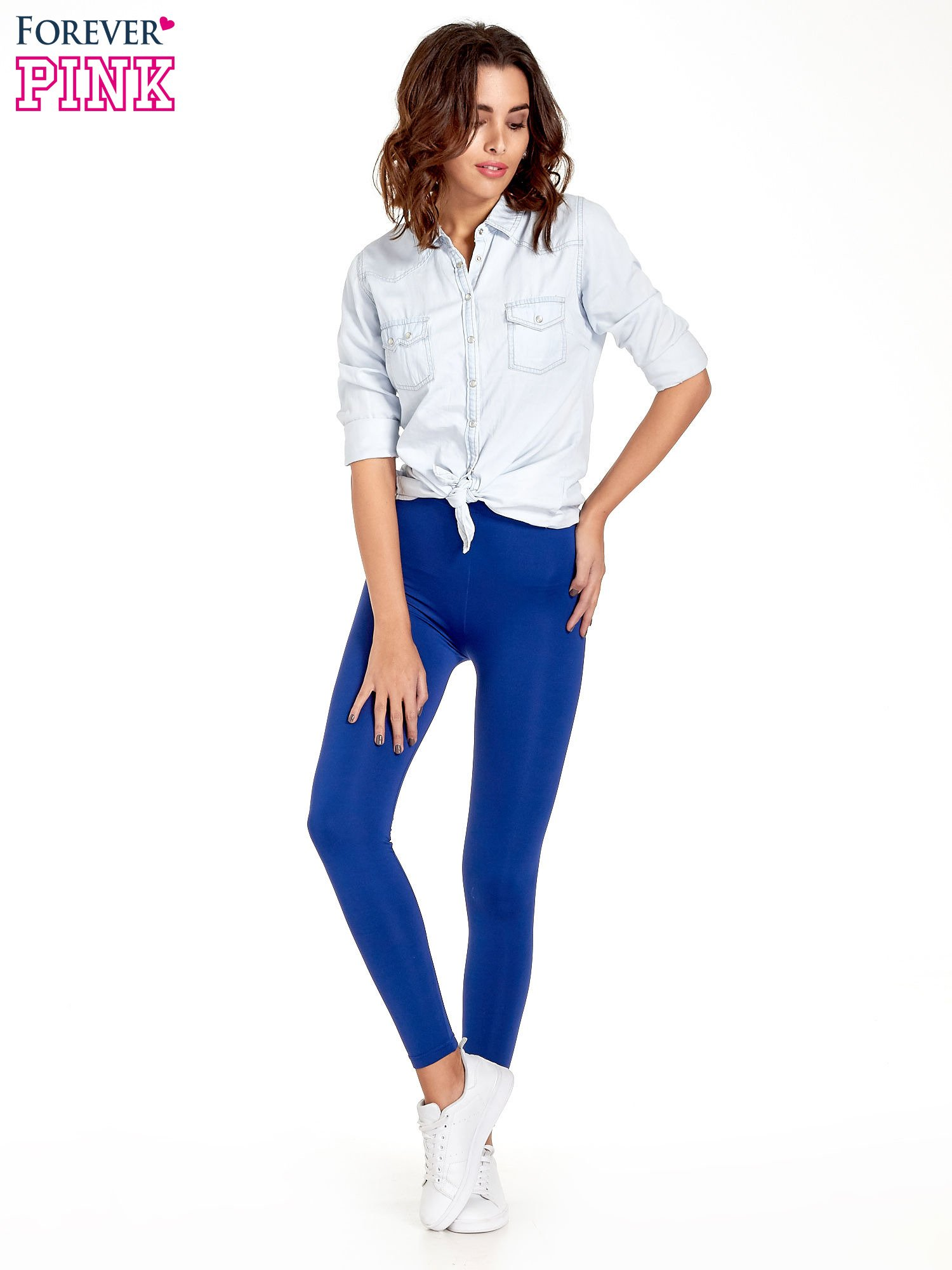 Niebieskie legginsy basic z lekkim ociepleniem                                  zdj.                                  2