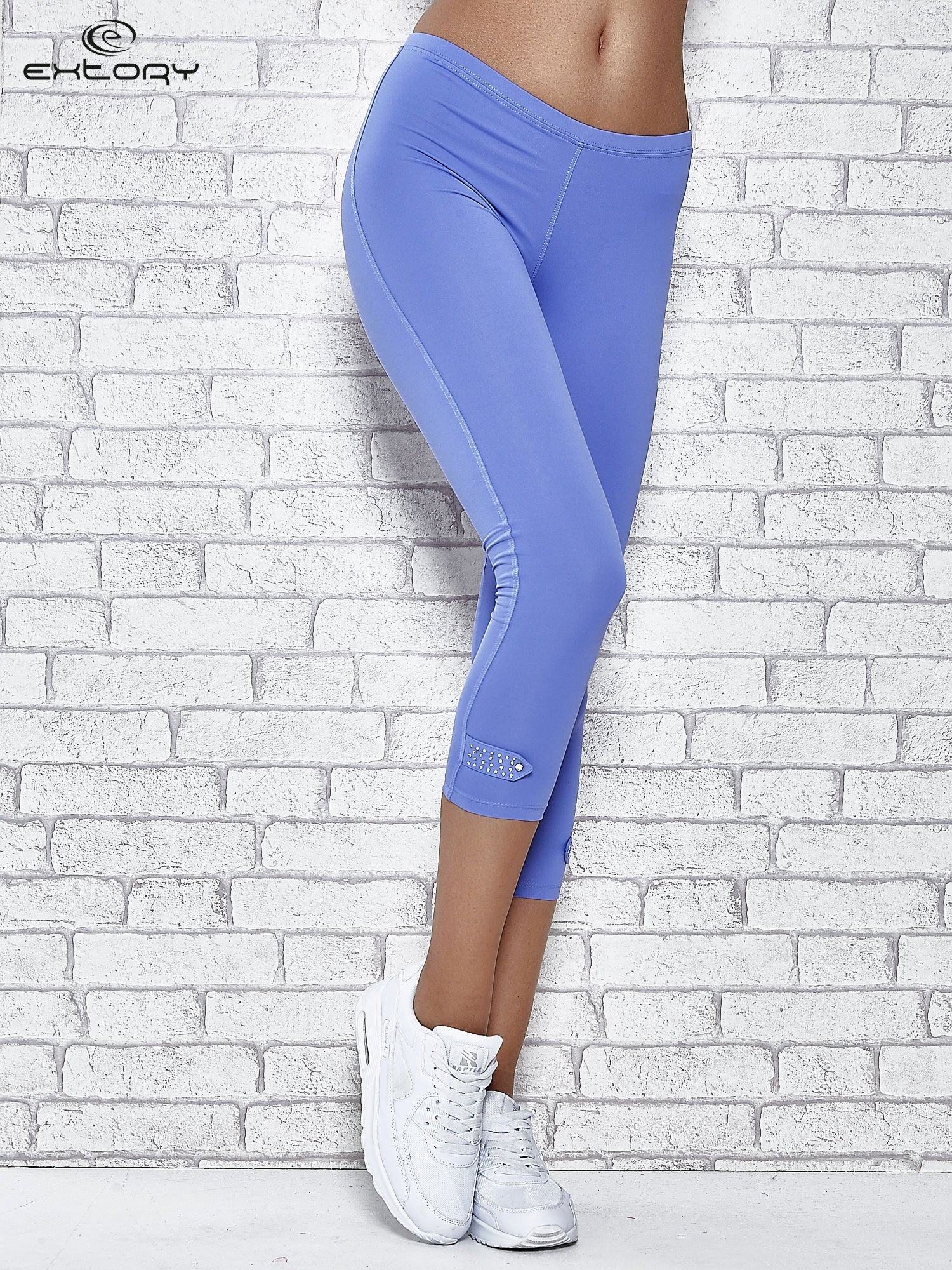 Niebieskie legginsy sportowe termalne z patką z dżetów                                  zdj.                                  1