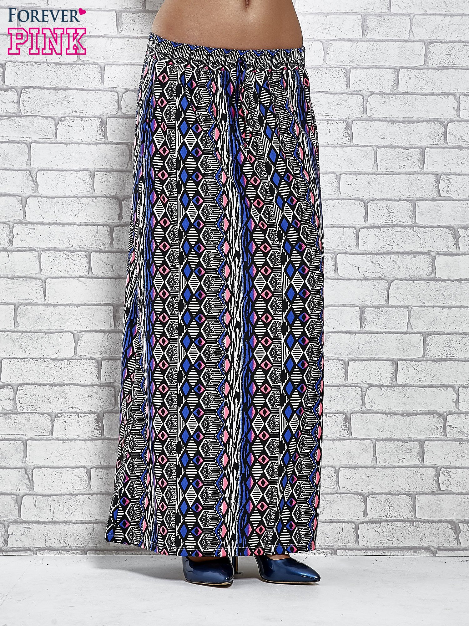 Niebieskie spódnica maxi w zteckie wzory                                  zdj.                                  1