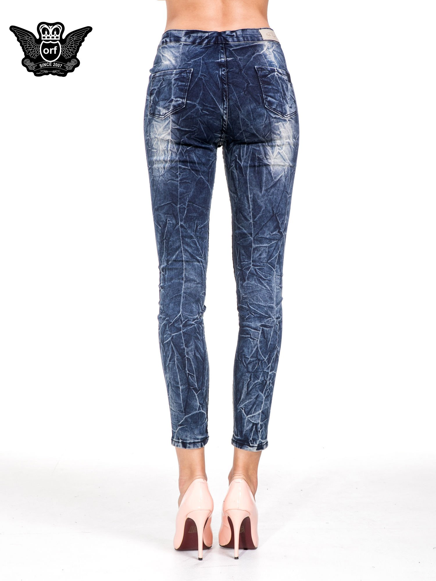 Niebieskie spodnie skinny jeans z efektem destroyed                                  zdj.                                  5