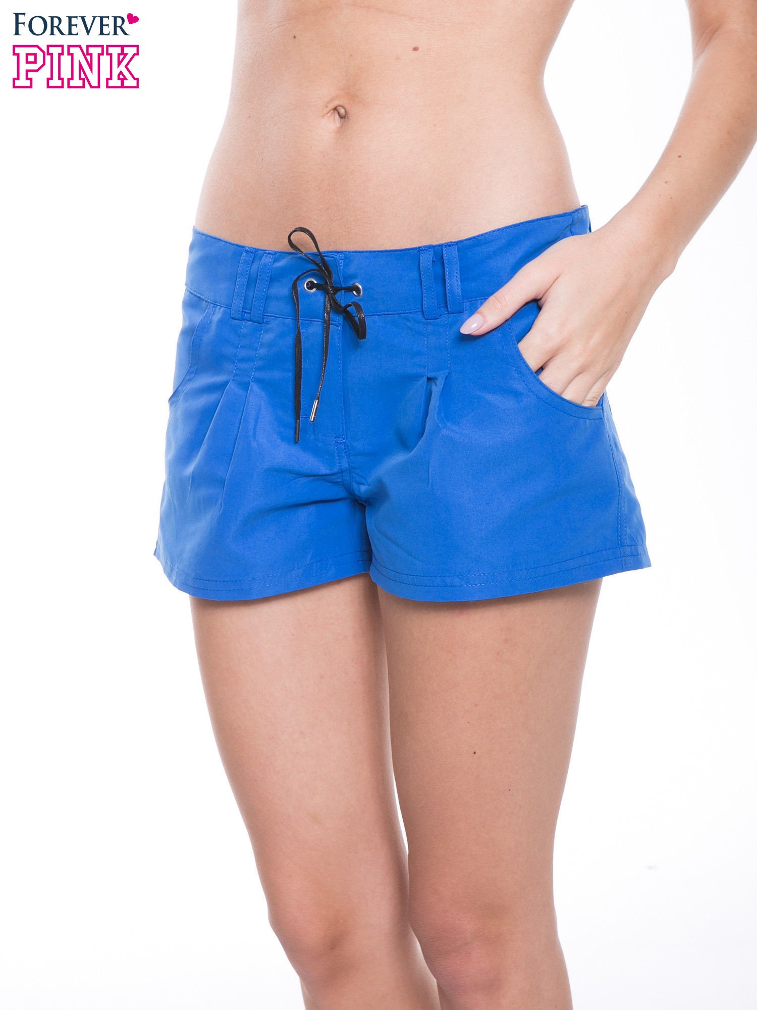 Niebieskie szorty plażowe wiązane w pasie                                  zdj.                                  7