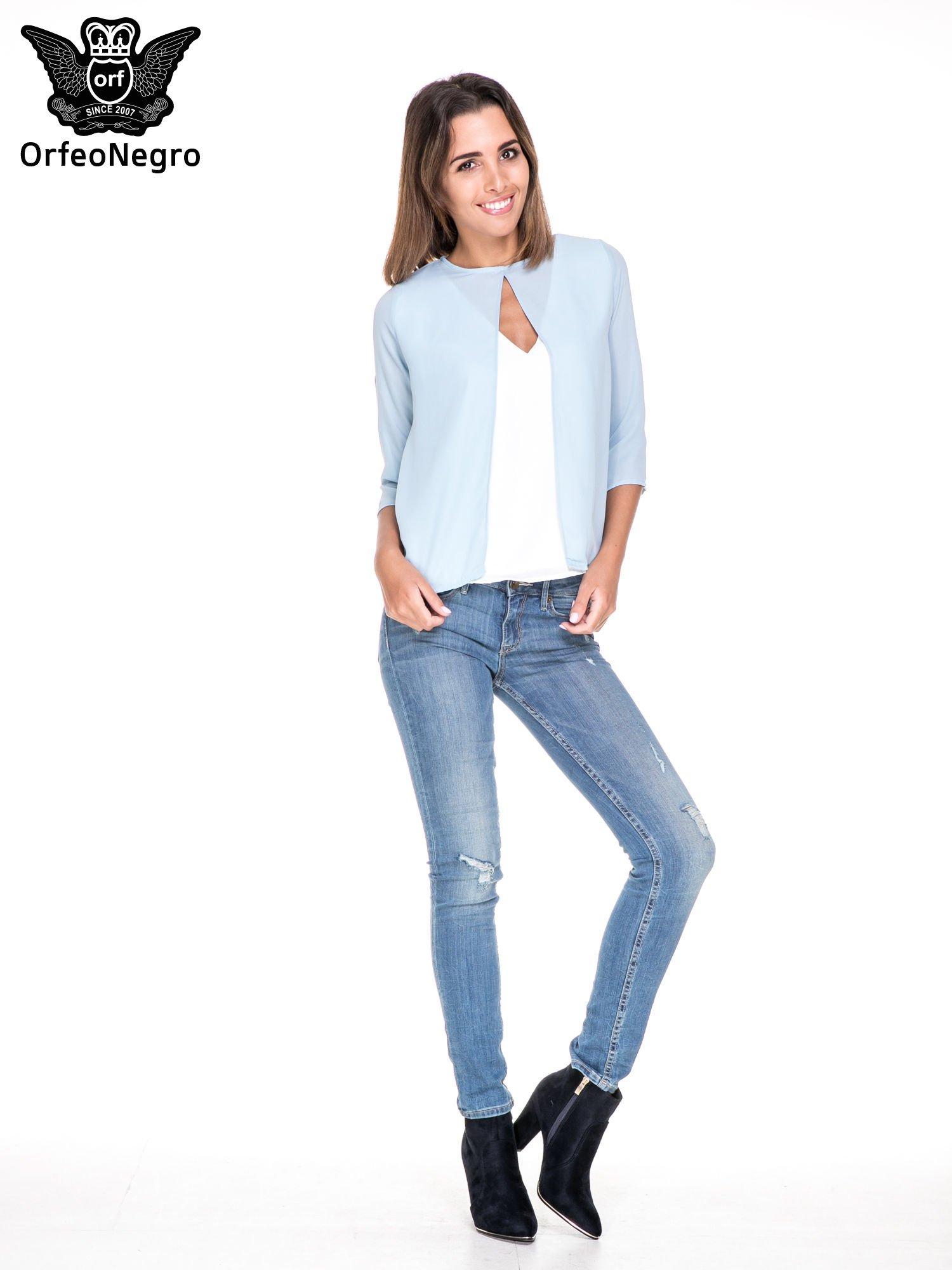 Niebiesko-biała dwuwarstwowa koszula o kroju narzutki                                  zdj.                                  2