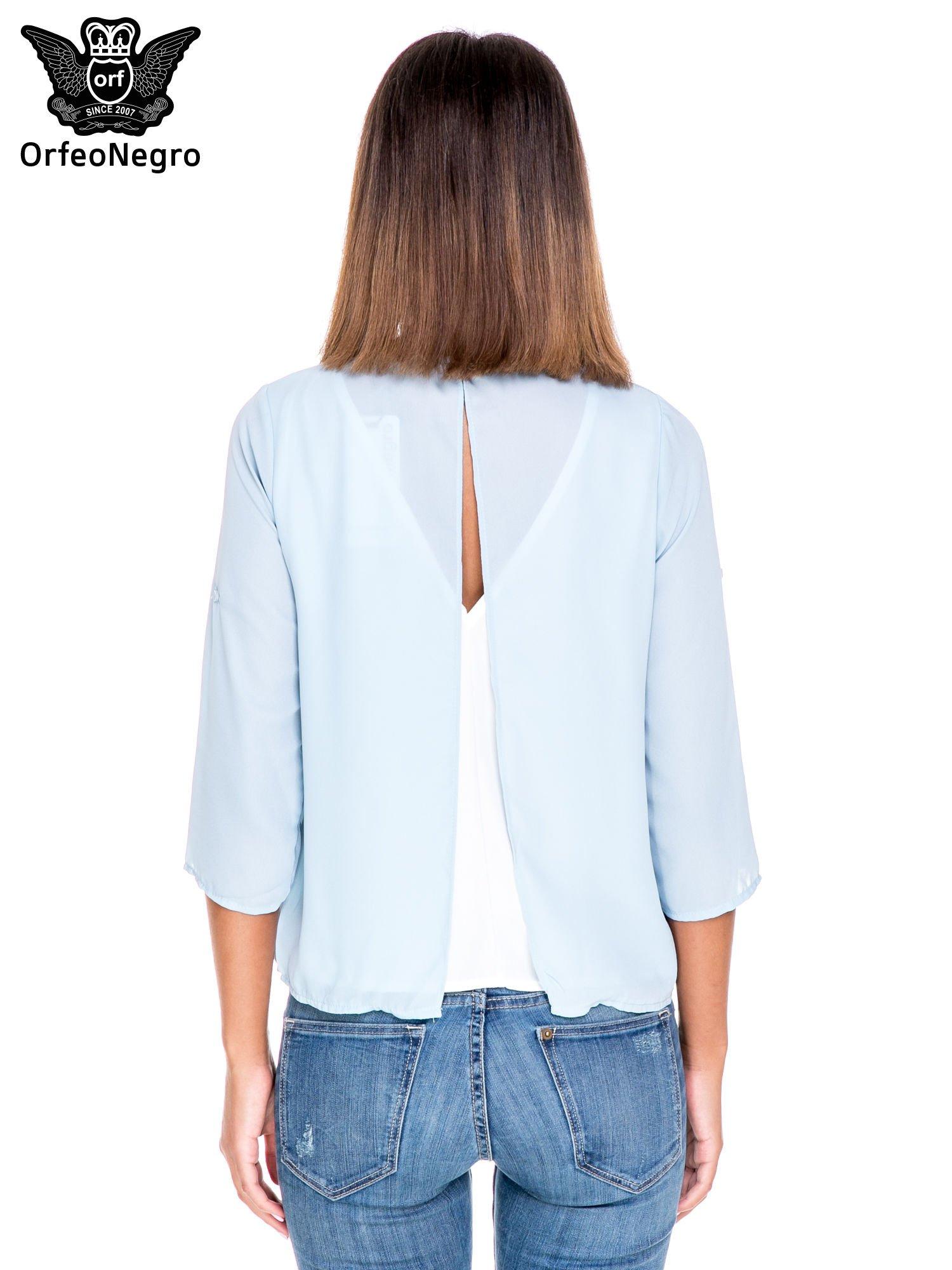 Niebiesko-biała dwuwarstwowa koszula o kroju narzutki                                  zdj.                                  4