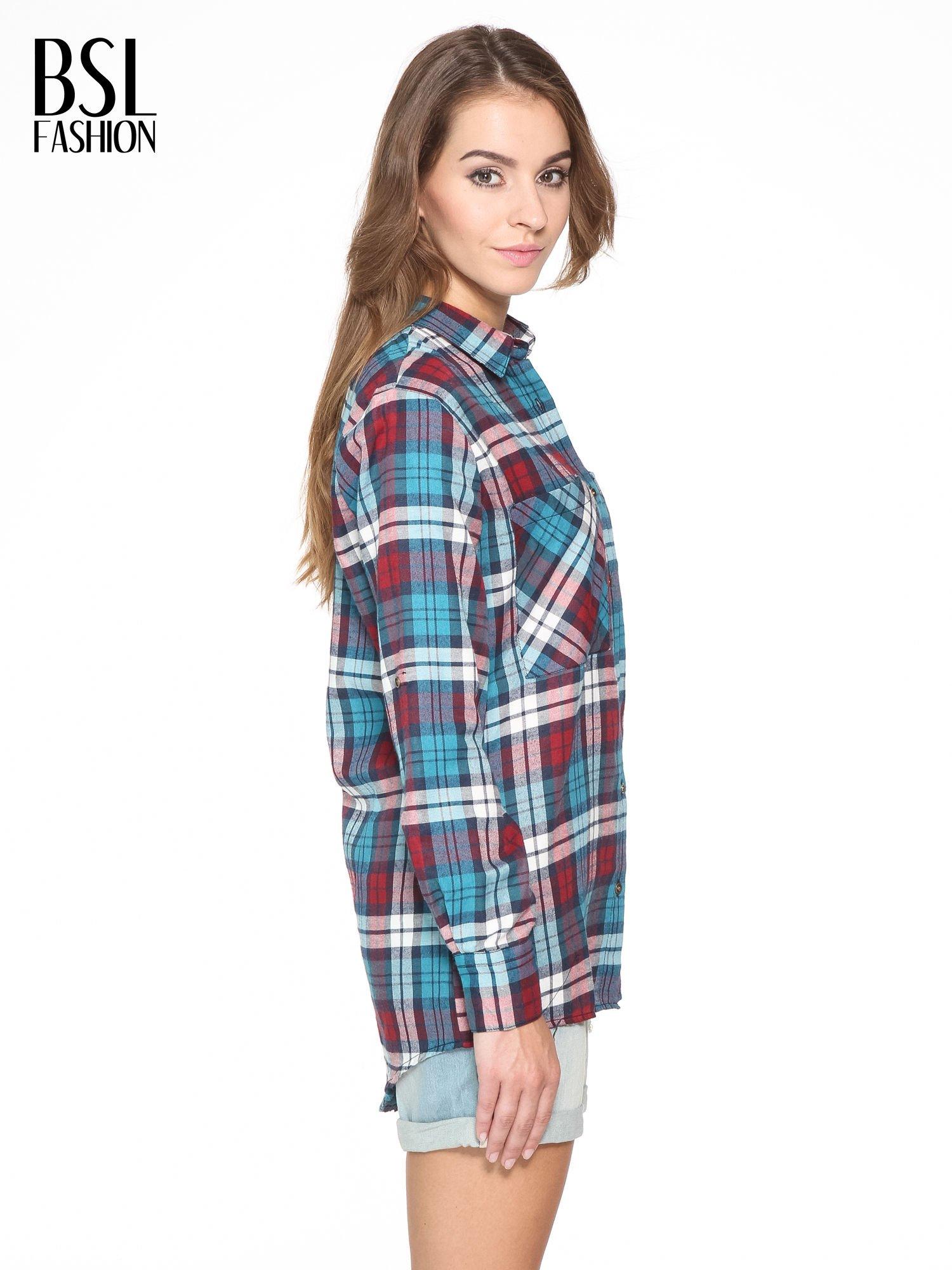Niebiesko-czerwona bawełniana dłuższa koszula w kratę                                  zdj.                                  3