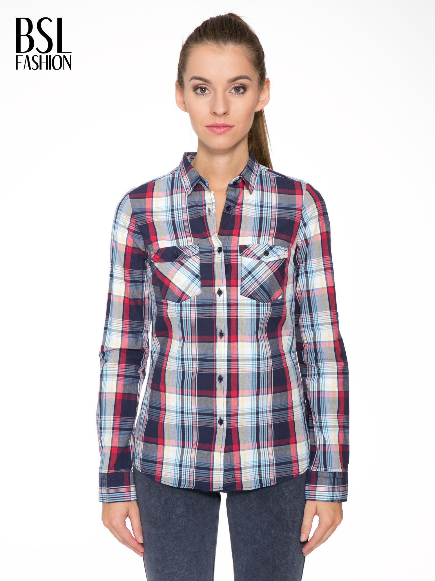 Niebiesko-czerwona koszula w kratę z kieszeniami                                  zdj.                                  1