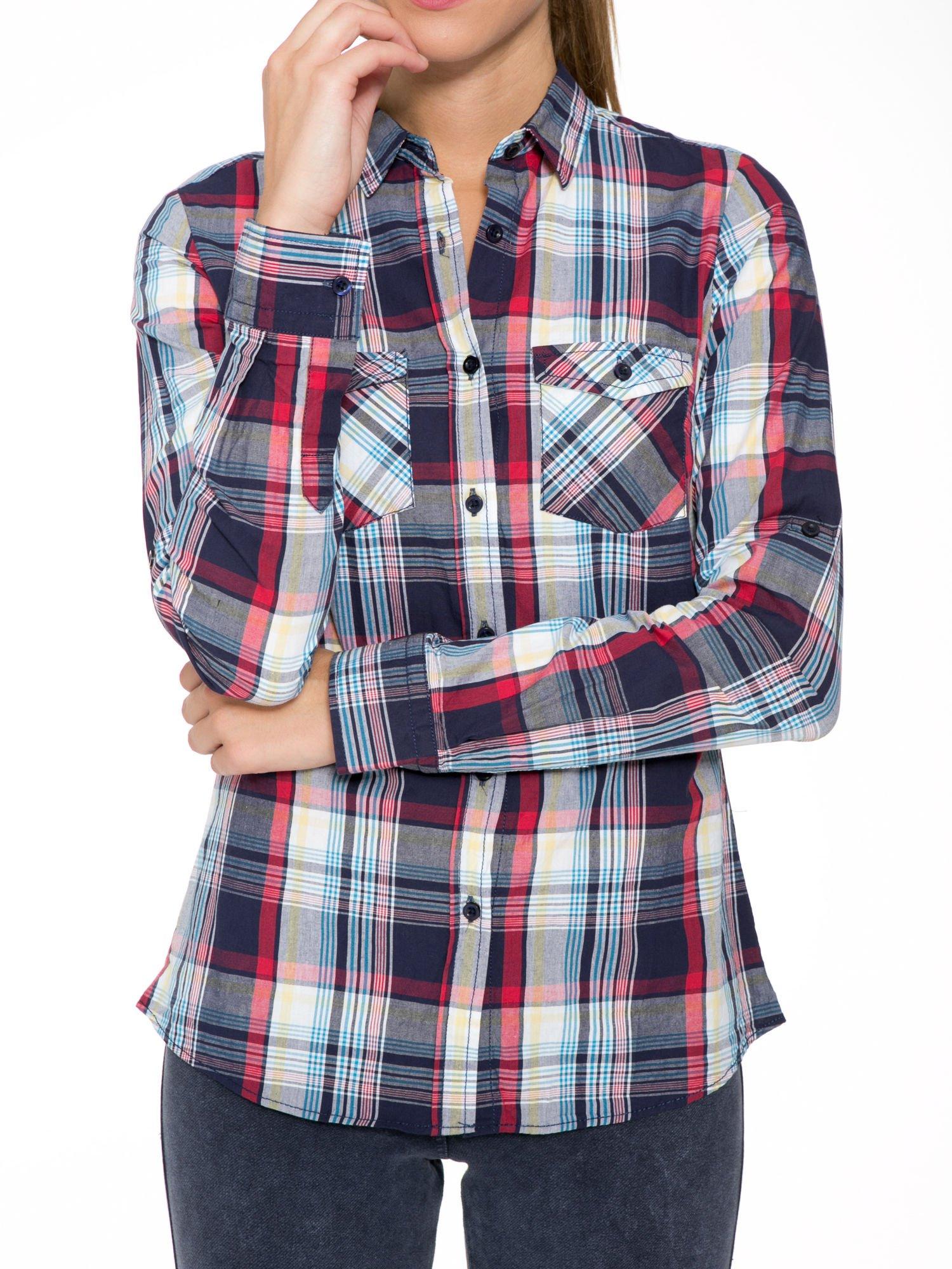 Niebiesko-czerwona koszula w kratę z kieszeniami                                  zdj.                                  7